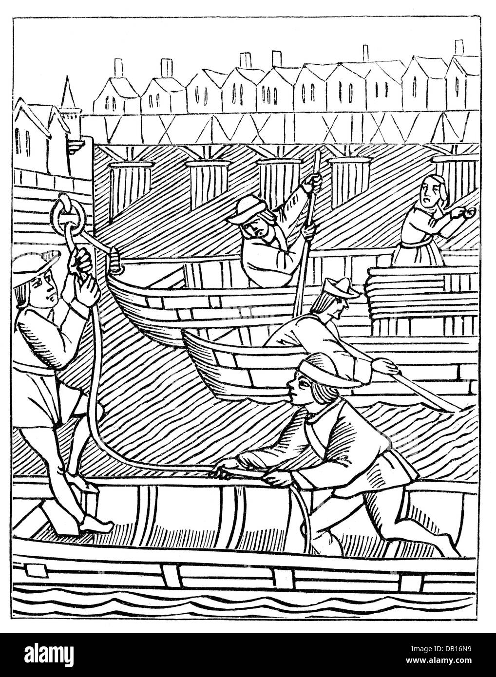 money / finances, contributions and taxes, charge of the bridge toll, after woodcut, from: 'Ordonnances de la - Stock Image