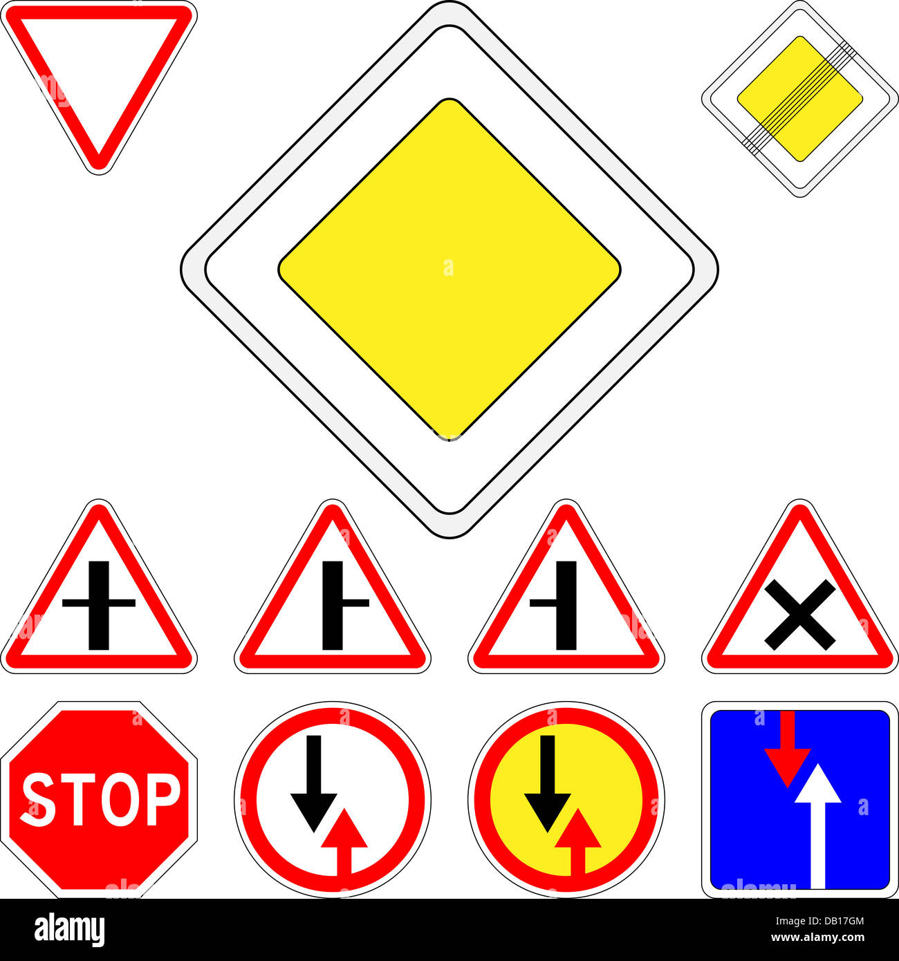vector set of road signs priority Stock Photo