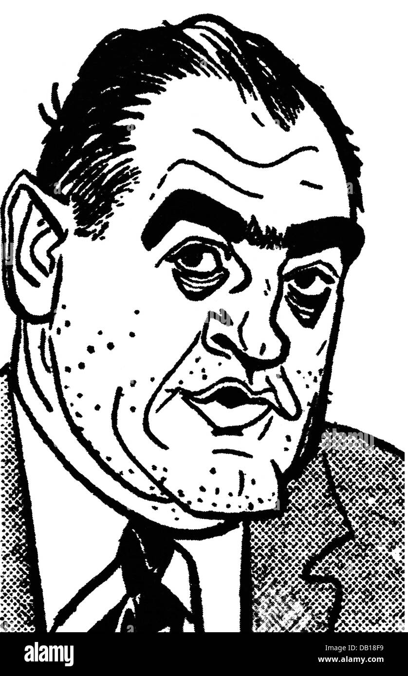 McCarthy, Joseph, 14.11.1908 - 2.5.1957, American politician, caricature, late 1950s, Additional-Rights-Clearances - Stock Image