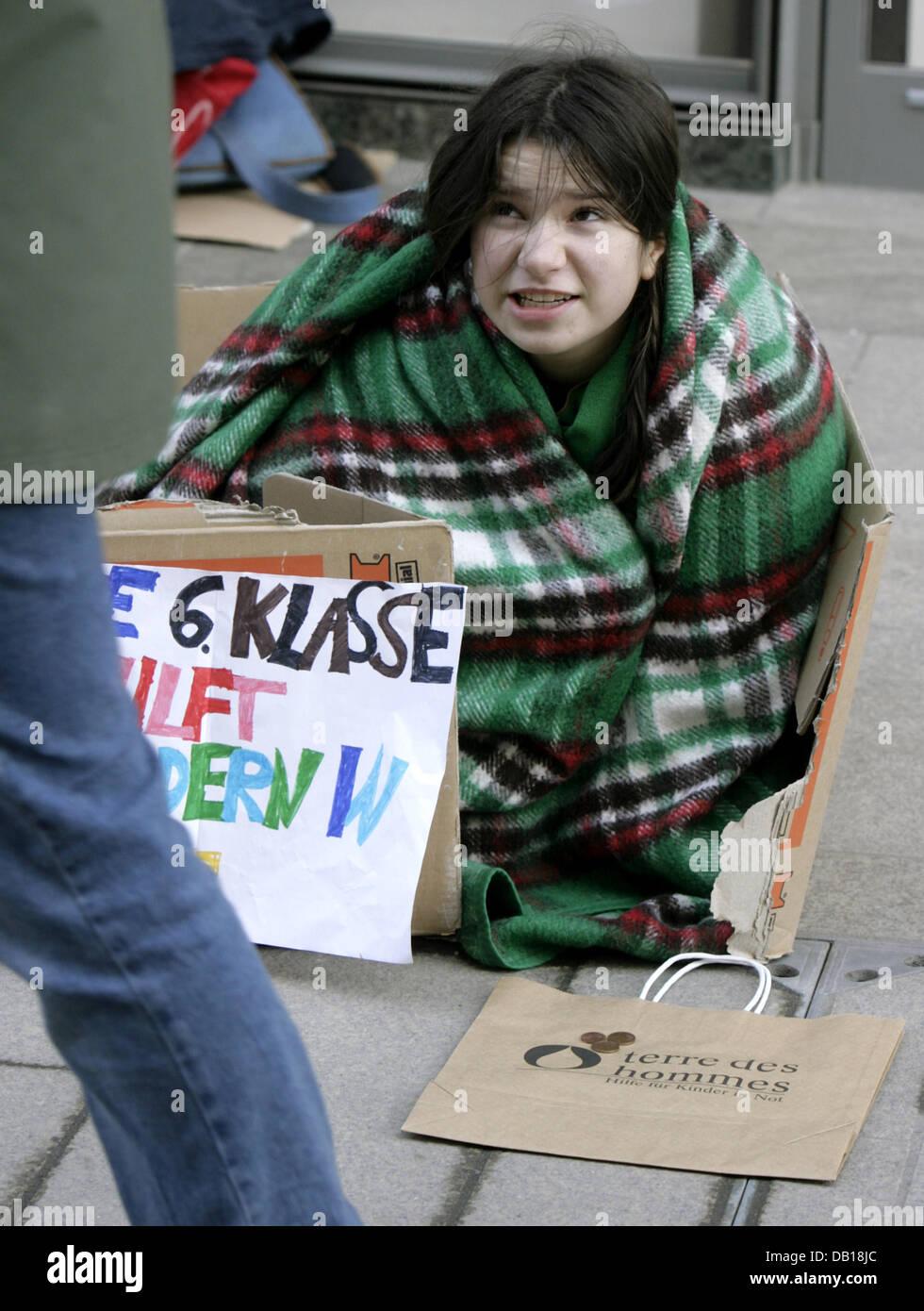 11 year-old, sixth grade pupil Teresa from 'Evangelisches Schulzentrum' (Lit.: 'Protestant School Centre') - Stock Image