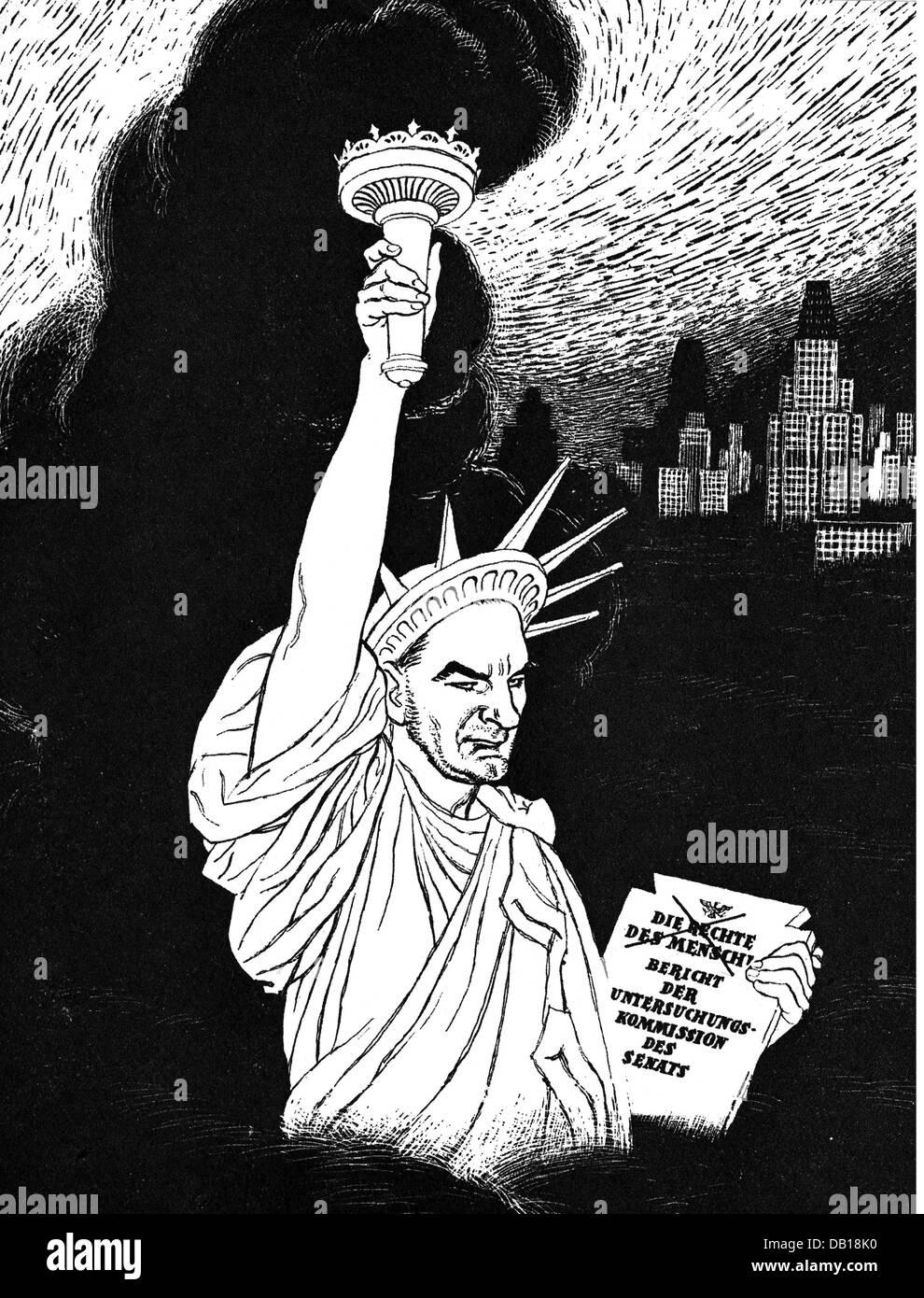 McCarthy, Joseph, 14.11.1908 - 2.5.1957, American politician, 'McCarthy replacing the statue of liberty', - Stock Image