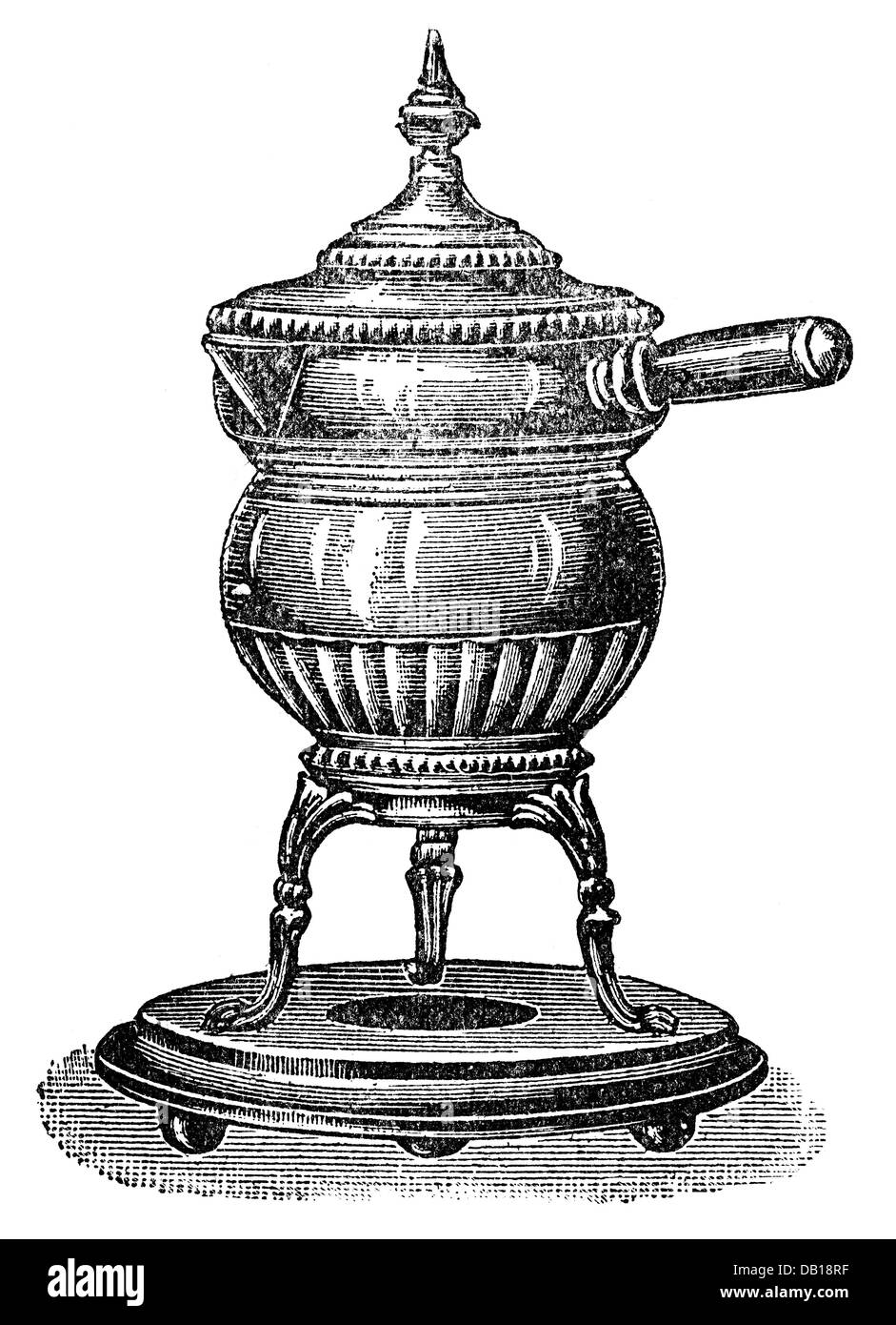 household, cooking and baking, boiling apparatus, copper, polished, wood engraving, from: Friedrich Eduard Bilz, - Stock Image
