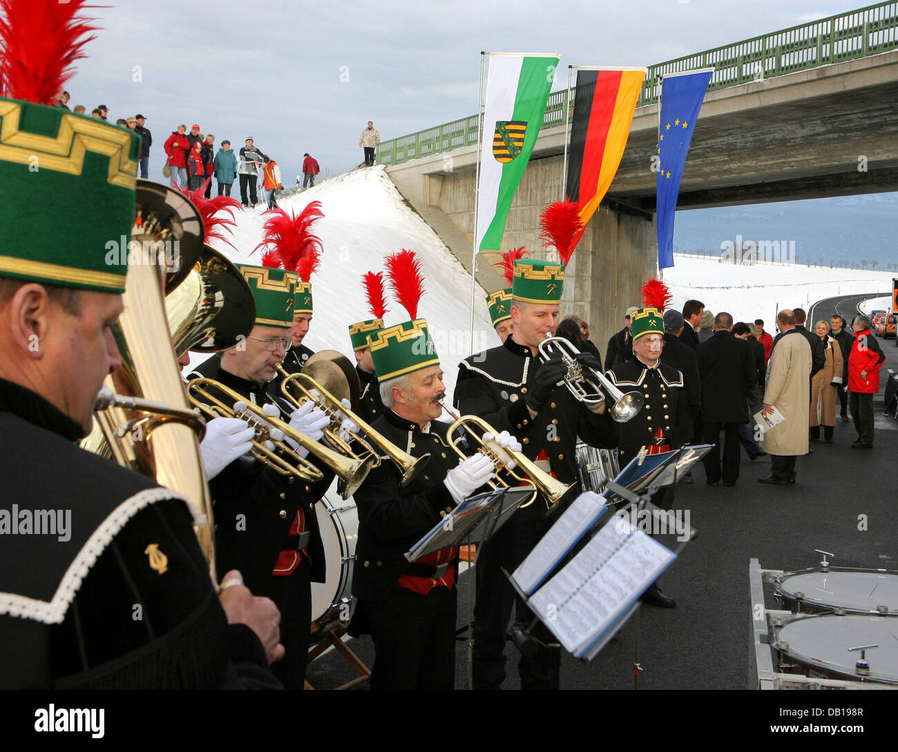 A band plays at the official handover of Marienberg in Marienberg, Germany, 22 November 2007. The bypass will be - Stock Image