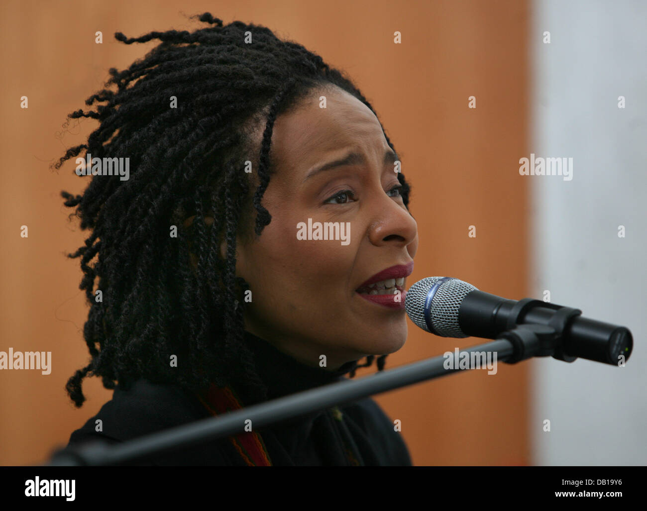 US soul singer Jocelyn B  Smith sings a song during the vernissage