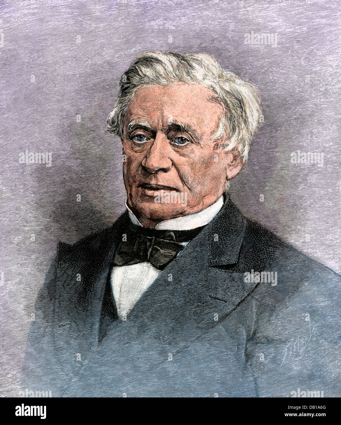 Professor Joseph Henry, first Secretary of the Smithsonian Institution. Hand-colored woodcut - Stock Image