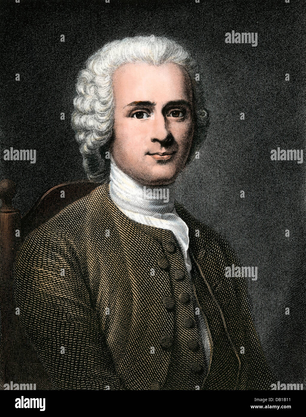 Jean-Jacques Rousseau. Hand-colored steel engraving - Stock Image