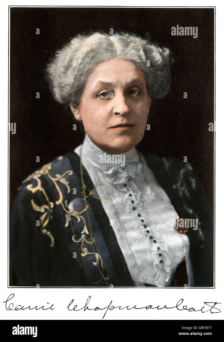 Women's suffrage proponent Carrie Chapman Catt. Hand-colored halftone of a photograph - Stock Image