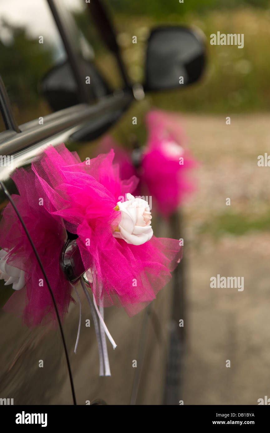 wedding car decorated with flowers and ribbons Stock Photo: 58423662 ...