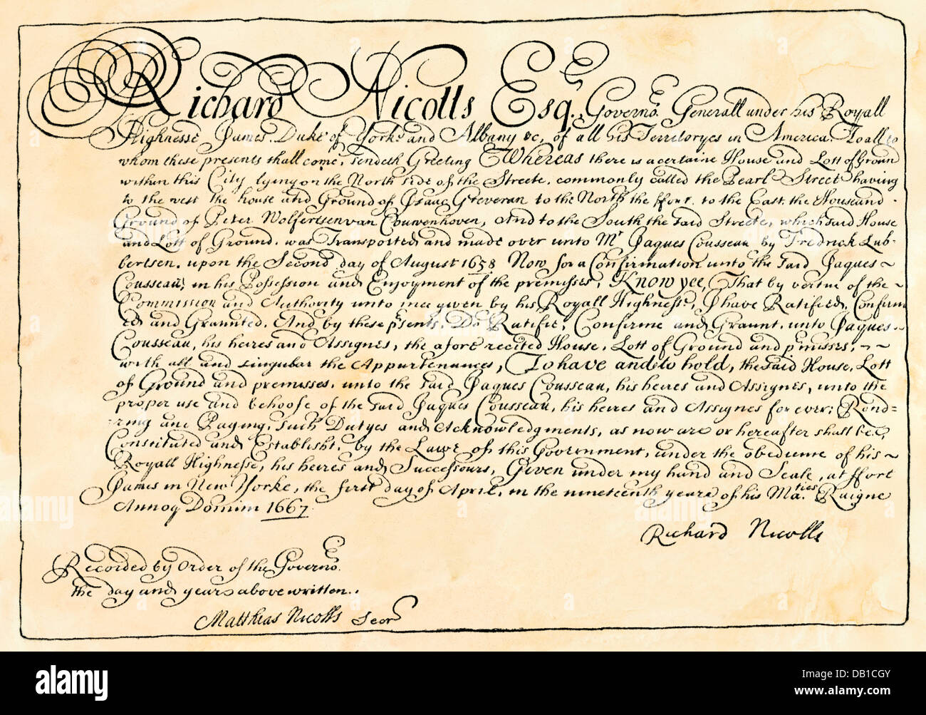 Document signed by Richard Nicolls, British governor of New York colony, 1667. Woodcut with a watercolor wash - Stock Image