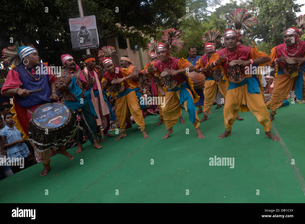 India salt drums, fast rhythm & foot steps-by strong stout males - Stock Image