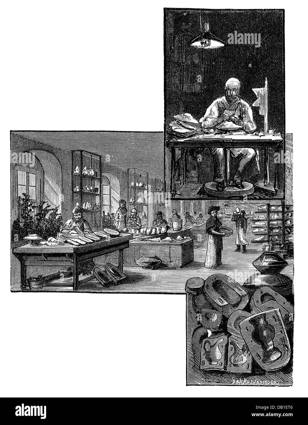 industry, porcelain, moulding and revolving, Meissen porcelain factory, wood engraving by Robert Brend'amour, - Stock Image