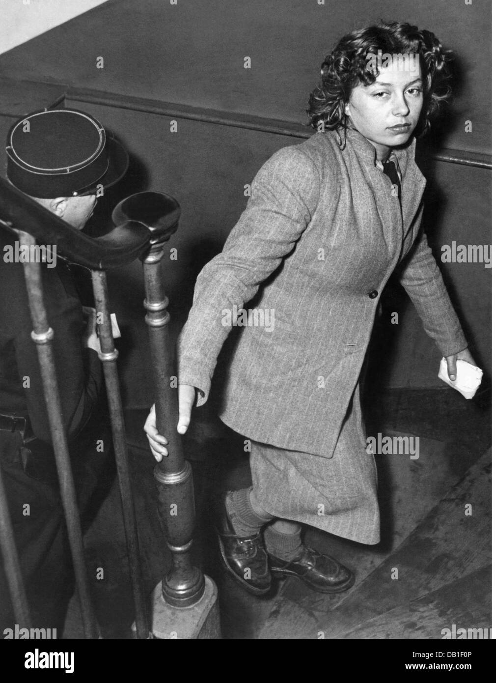 justice, serious crime, homicide, eighteen-year-old Huguette Joly at the police office after the murder of her companion, - Stock Image