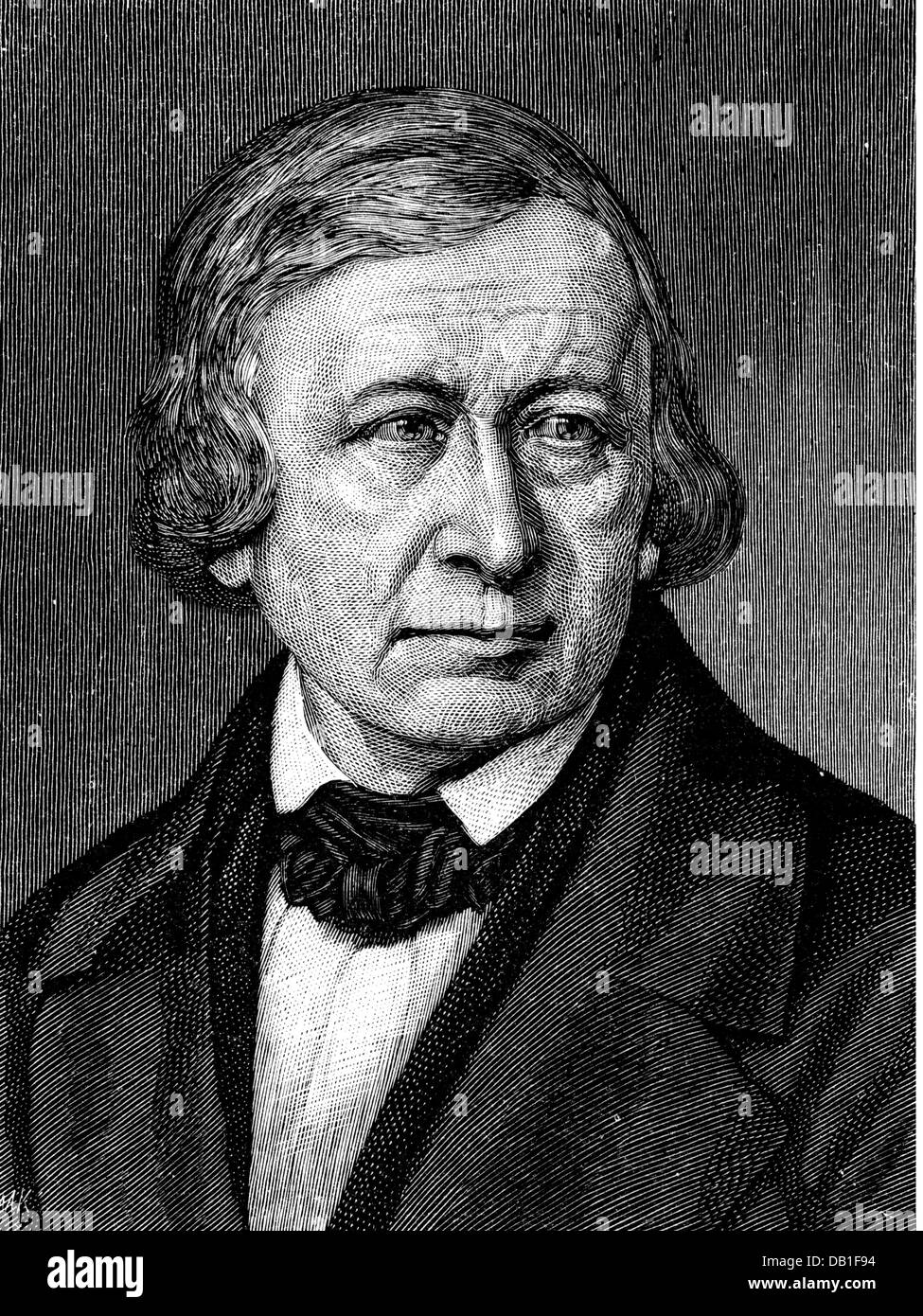 Grimm, Wilhelm, 24.2.1786 - 16.12.1859, German philologist, professor in Göttingen 1835 - 1837, portrait, portrait - Stock Image