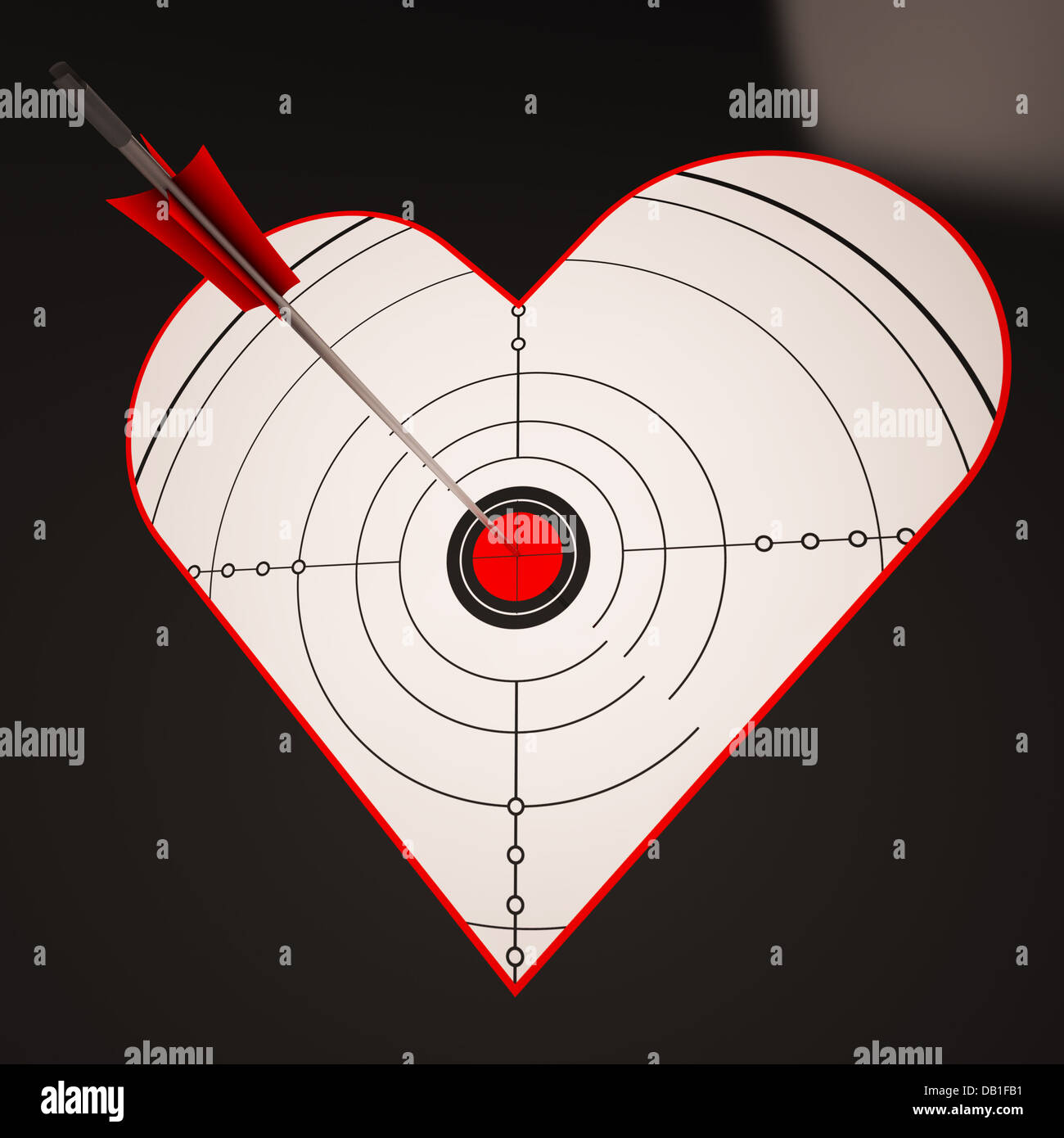 Heart Target Shows Successful Winner In Love - Stock Image