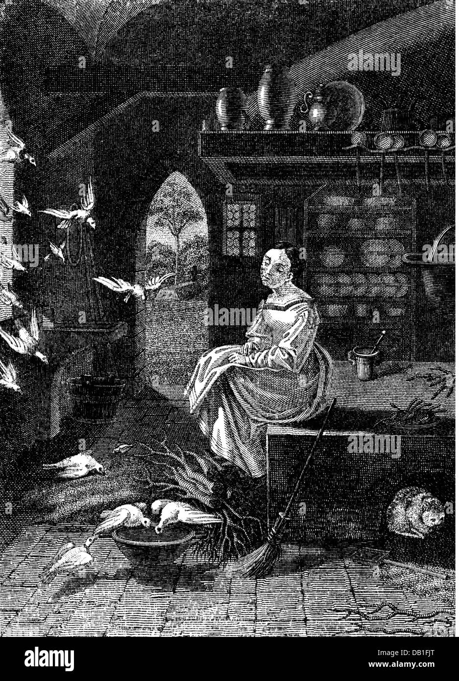 """literature, fairytale, brothers Grimm, Cinderella, Cinderella and the pigeons, drawing by Ludwig Emil Grimm (1790 - 1863), from: """"Kinder- und Hausmärchen"""", Additional-Rights-Clearences-Not Available Stock Photo"""