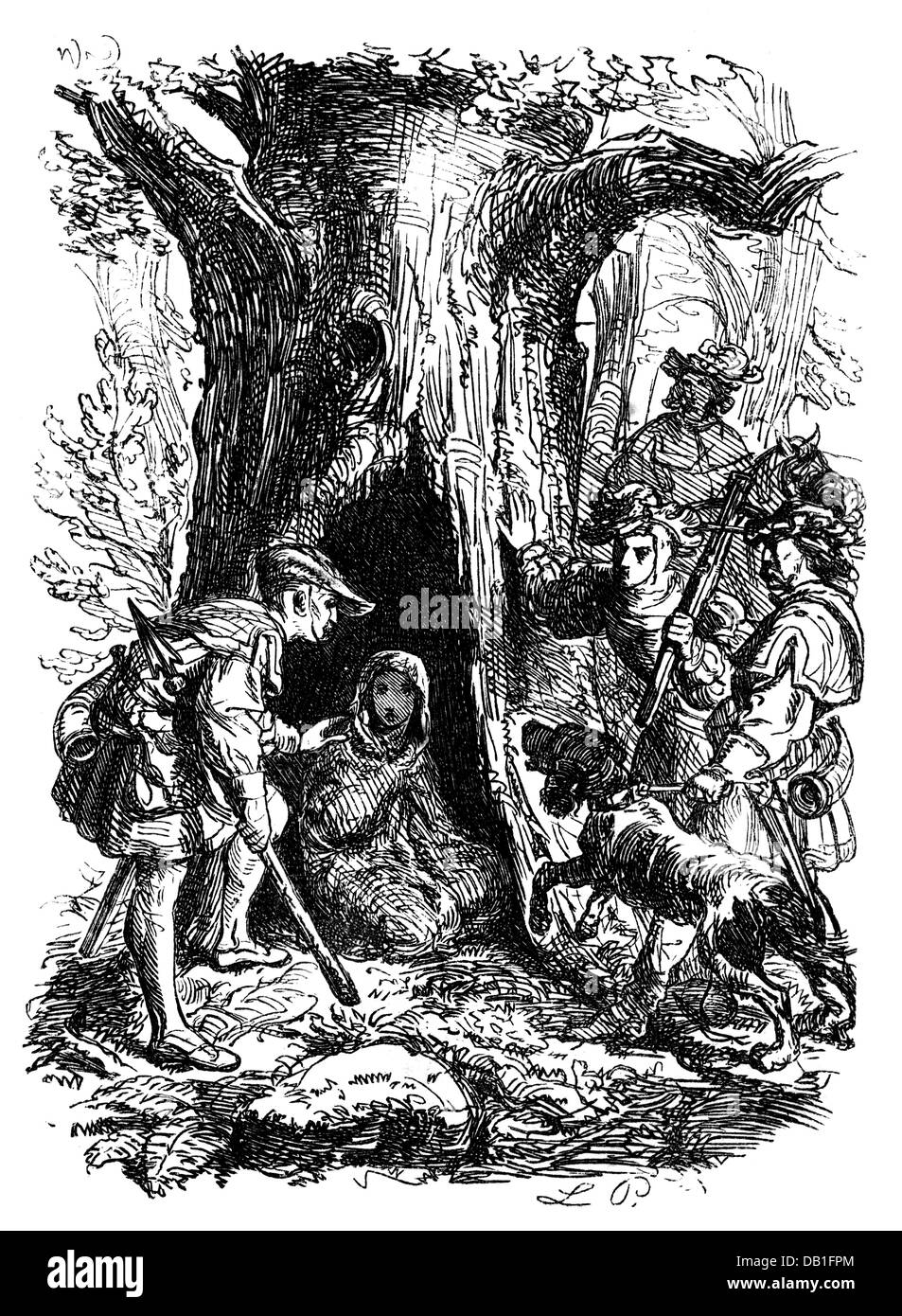 literature, fairytale, brothers Grimm, Mary's Child, after drawing by Ludwig Pietsch (1824 - 1911), wood engraving, - Stock Image