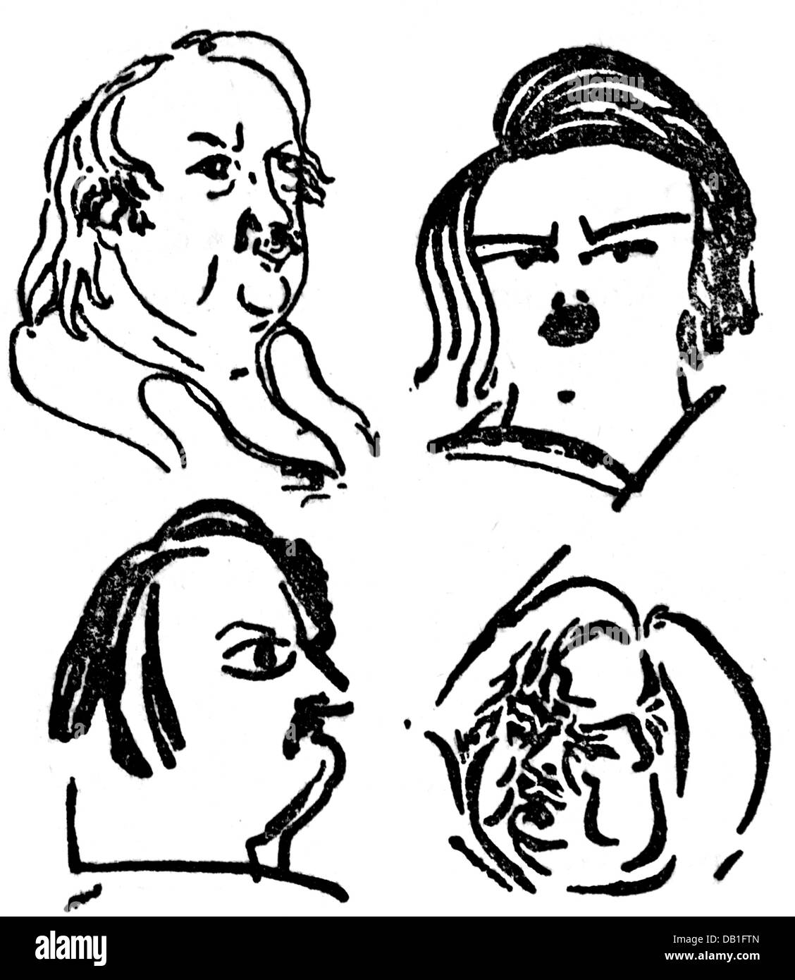 Balzac, Honore de, 20.5.1799 - 18.8.1850, French author / writer, portrait, four caricatures, Additional-Rights - Stock Image