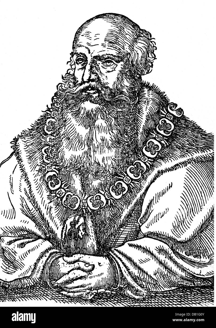 George the Bearded, 27.8.1471 - 17.4.1539, Duke of Saxony 12.9.1500 - 17.4.1539, half length, after woodcut by Cranach, - Stock Image
