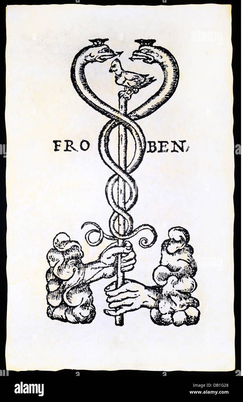 technics, letterpress, publisher's mark, Johann Froben (1460 - 1527), woodcut, Basel, 1st third 16th century, - Stock Image