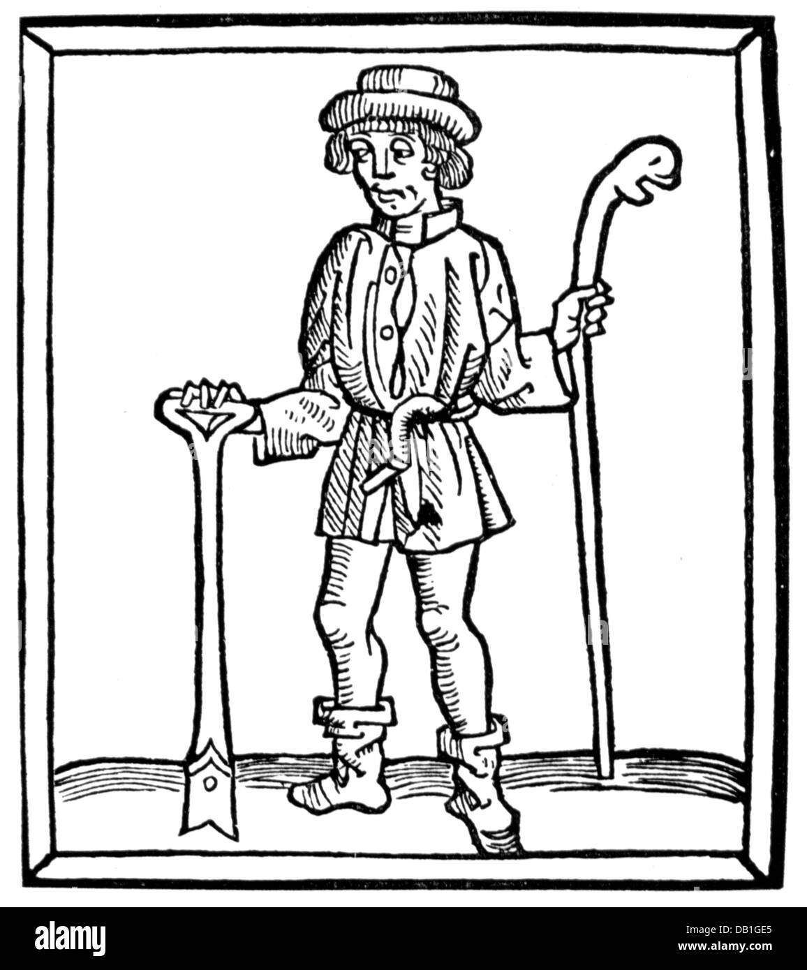 agriculture, farmer, Low German peasant with sickle, spade and crook, woodcut, circa 16th century, out of: Adolf - Stock Image