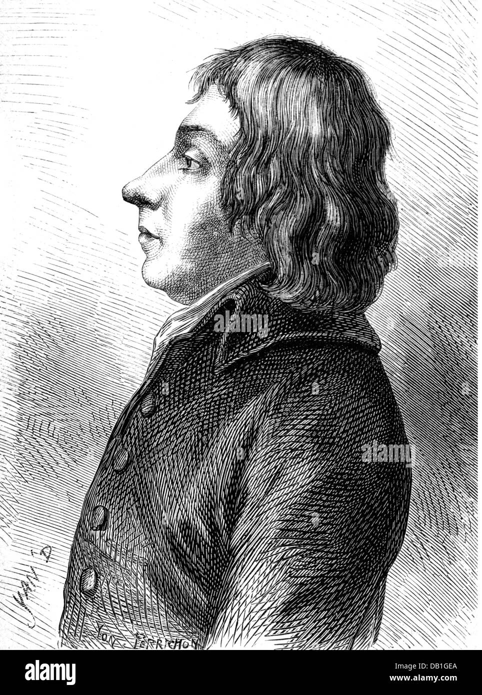 Bonnier d'Alco, Antoine, 29.9.1750 - 28.4.1799, French politician and diplomat, portrait, circa 1795, wood engraving, - Stock Image