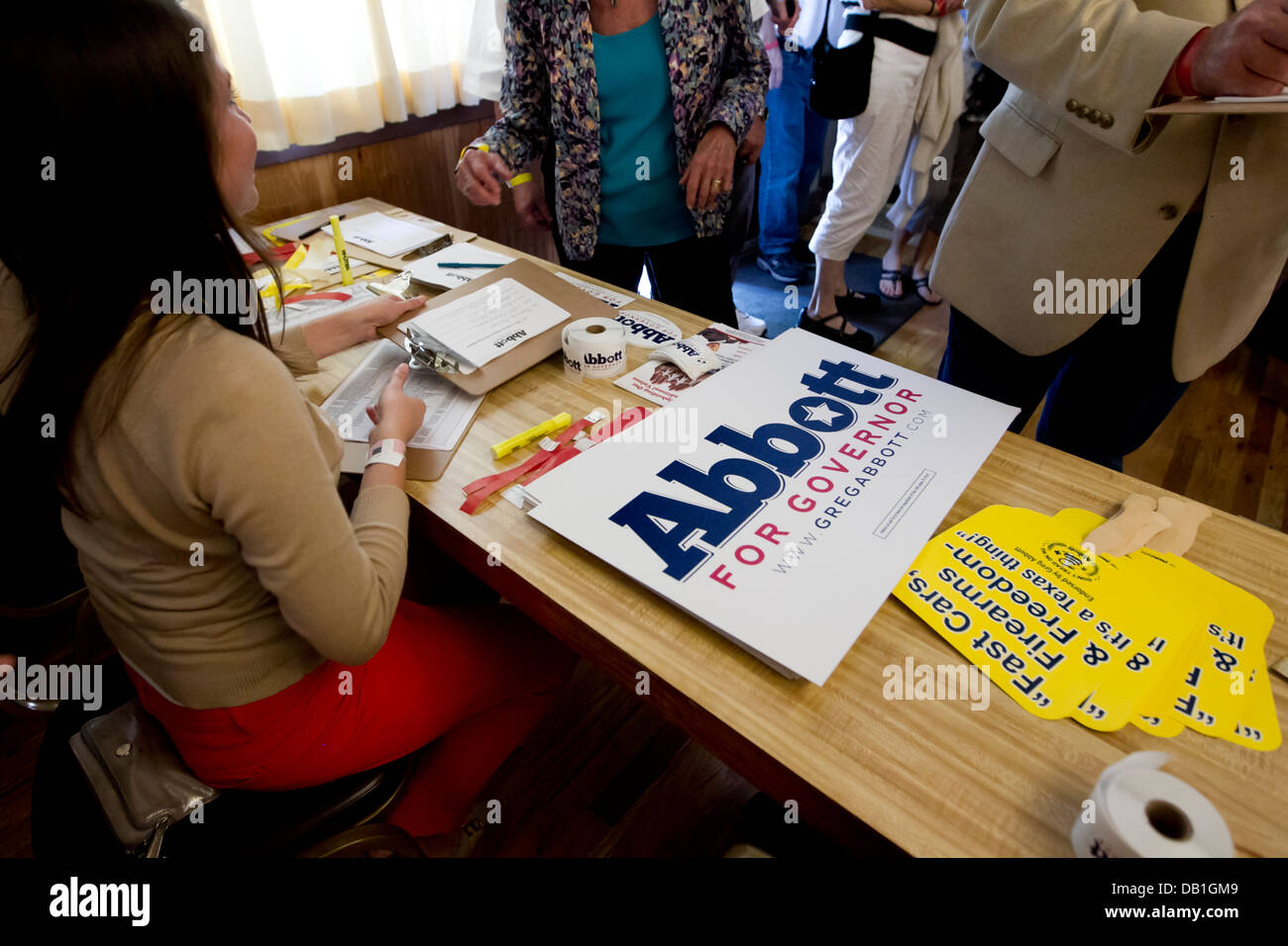 Table with campaign promotional pieces for Attorney General Greg Abbott who is running for Governor of Texas as - Stock Image
