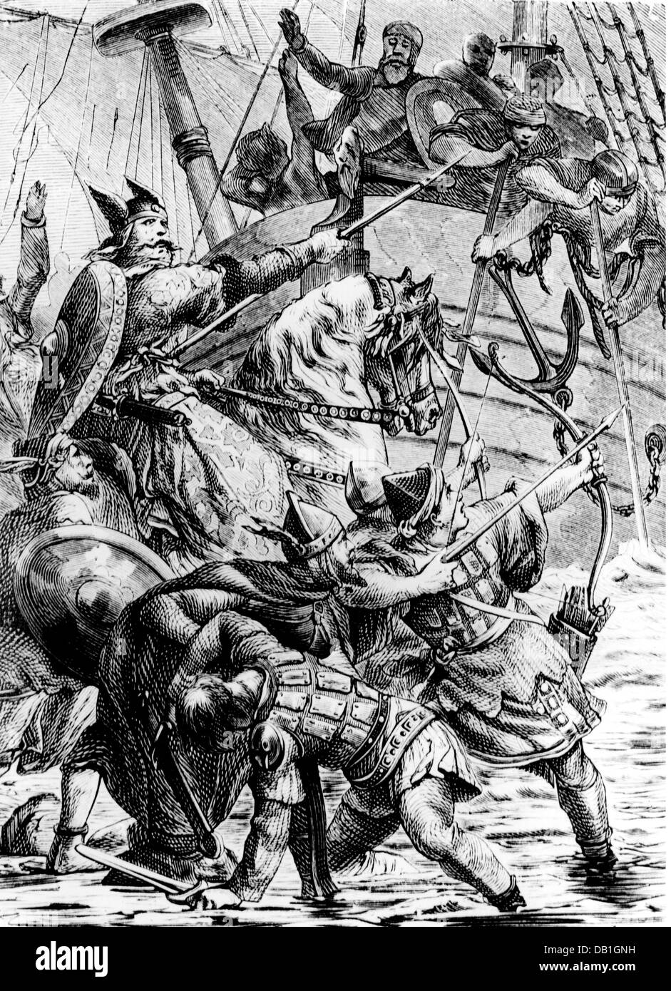 literature, Nordic / Icelandic legends, Kudrun, travel of the messengers of king Hetel of Germany to court Hilde - Stock Image