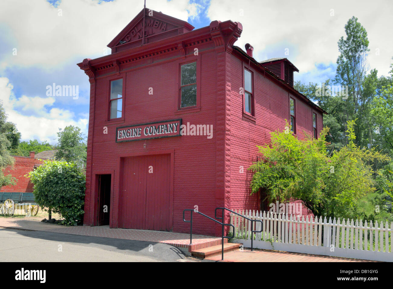 The firehouse at Columbia State Historic Park, California gold-rush town - Stock Image