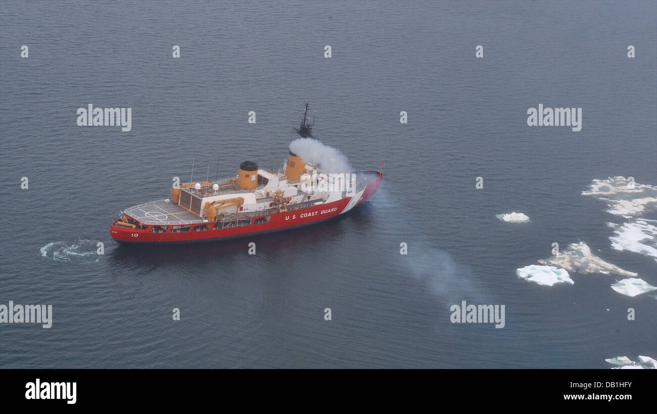 The Coast Guard Cutter Polar Star transits near the beginning of the ice edge in the Chukchi Sea north of Wainwright, - Stock Image