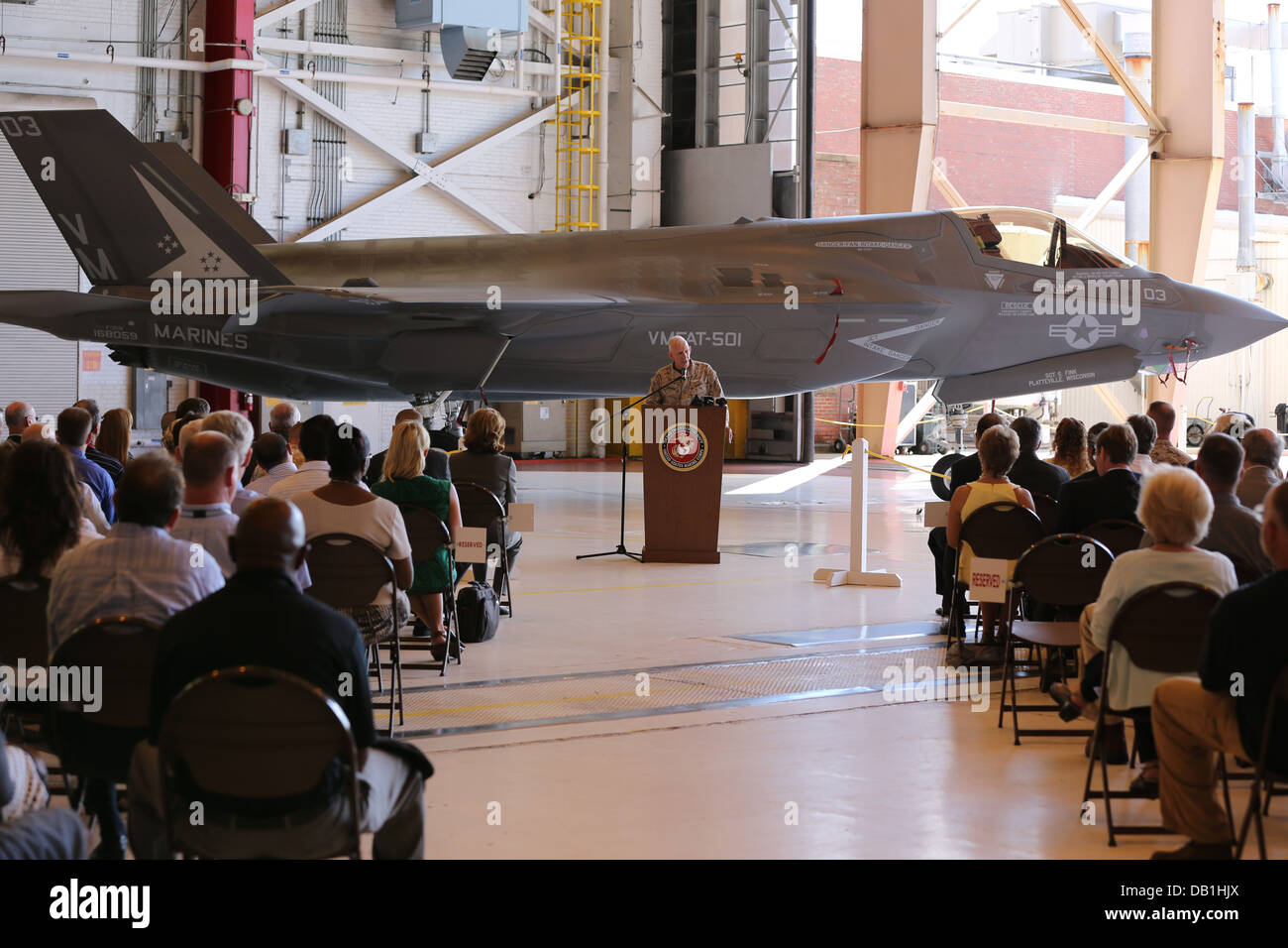 Fleet Readiness Center East showcased the first F-35B Lightning II at an invitation-only ceremony July 15 at the - Stock Image