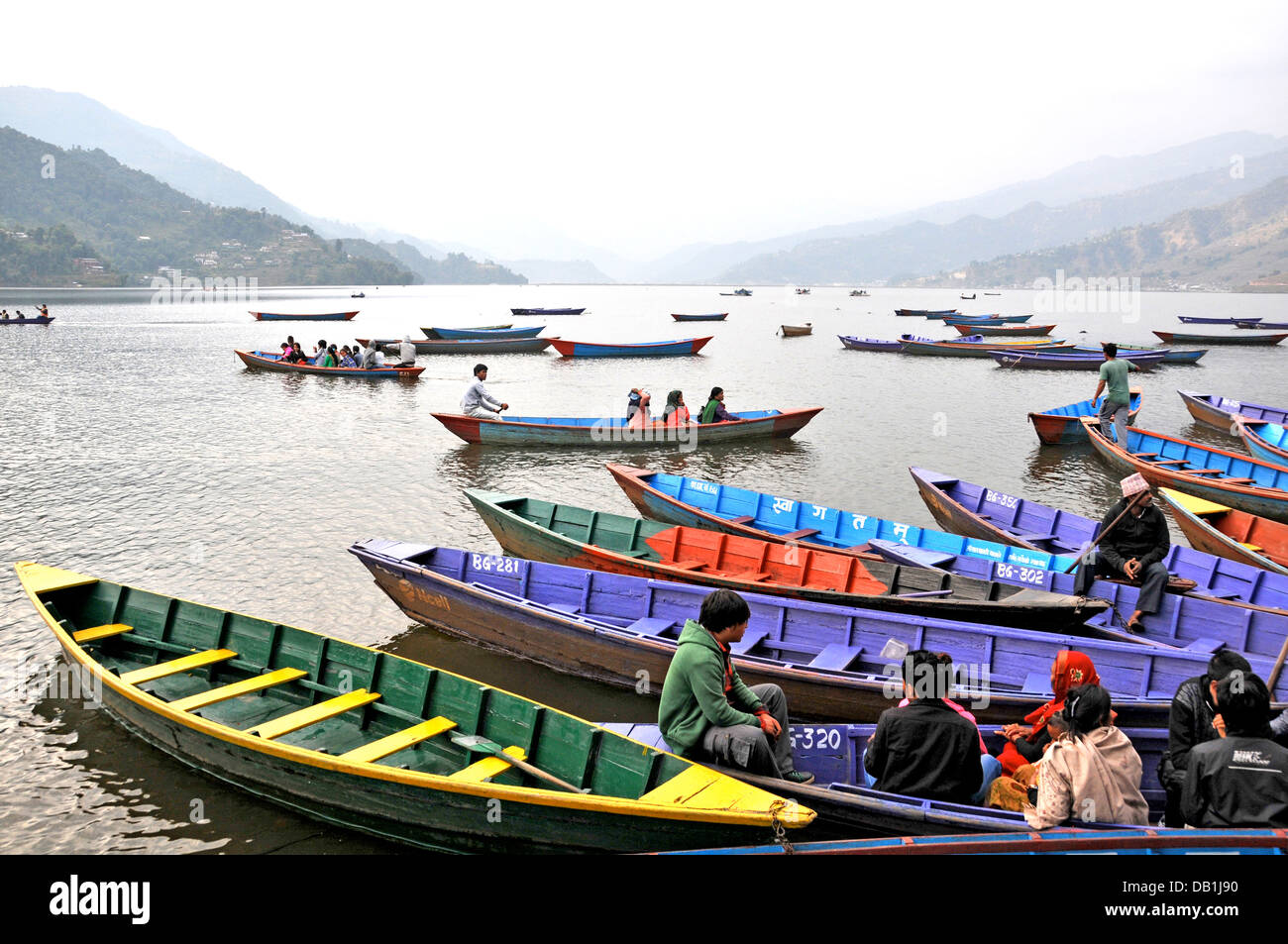 boats on Phewa lake Pokhara Nepal - Stock Image