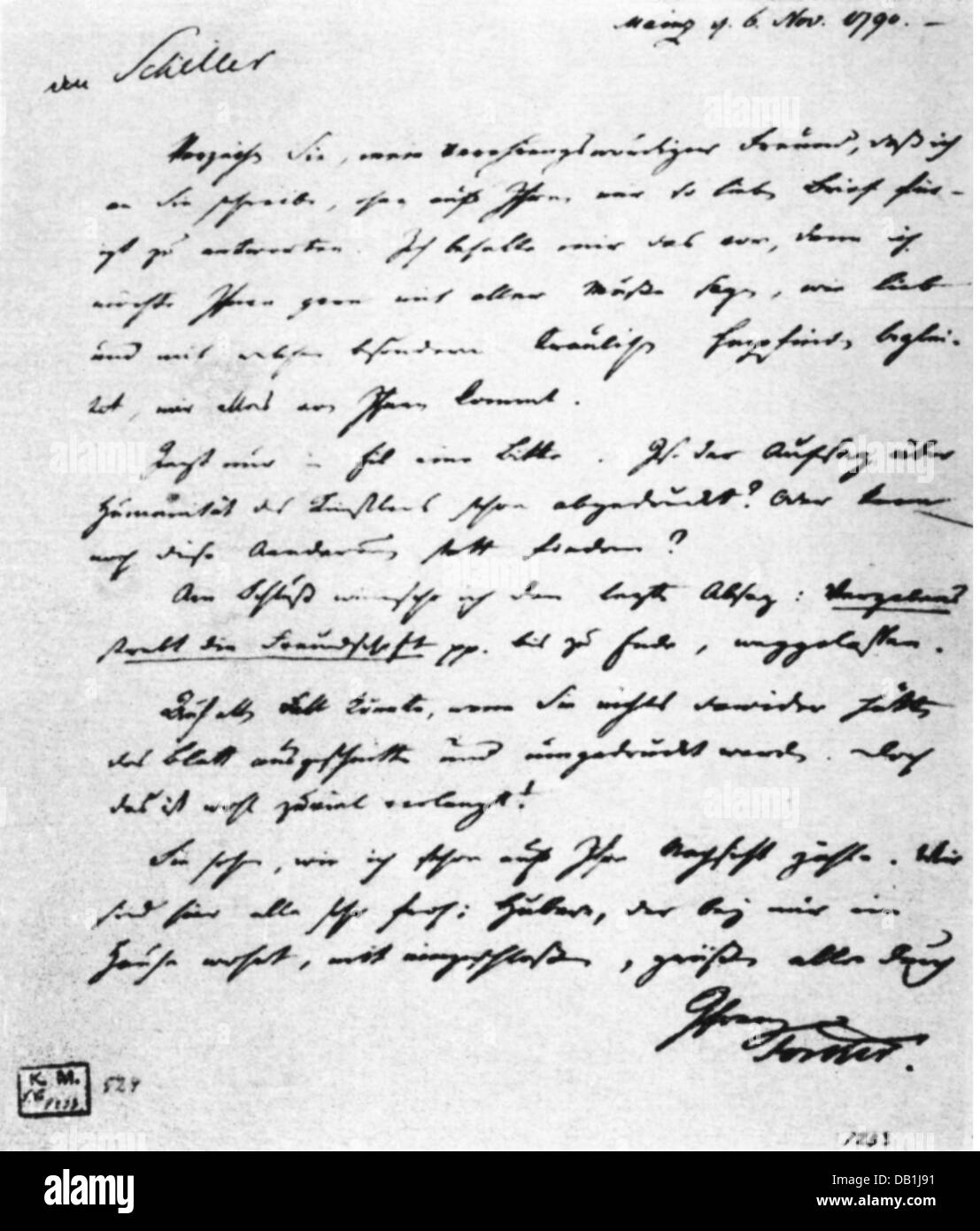 Forster, Johann Georg, 27.11.1754 - 10.1.1794, German natural scientist, letter to Friedrich Schiller about the - Stock Image