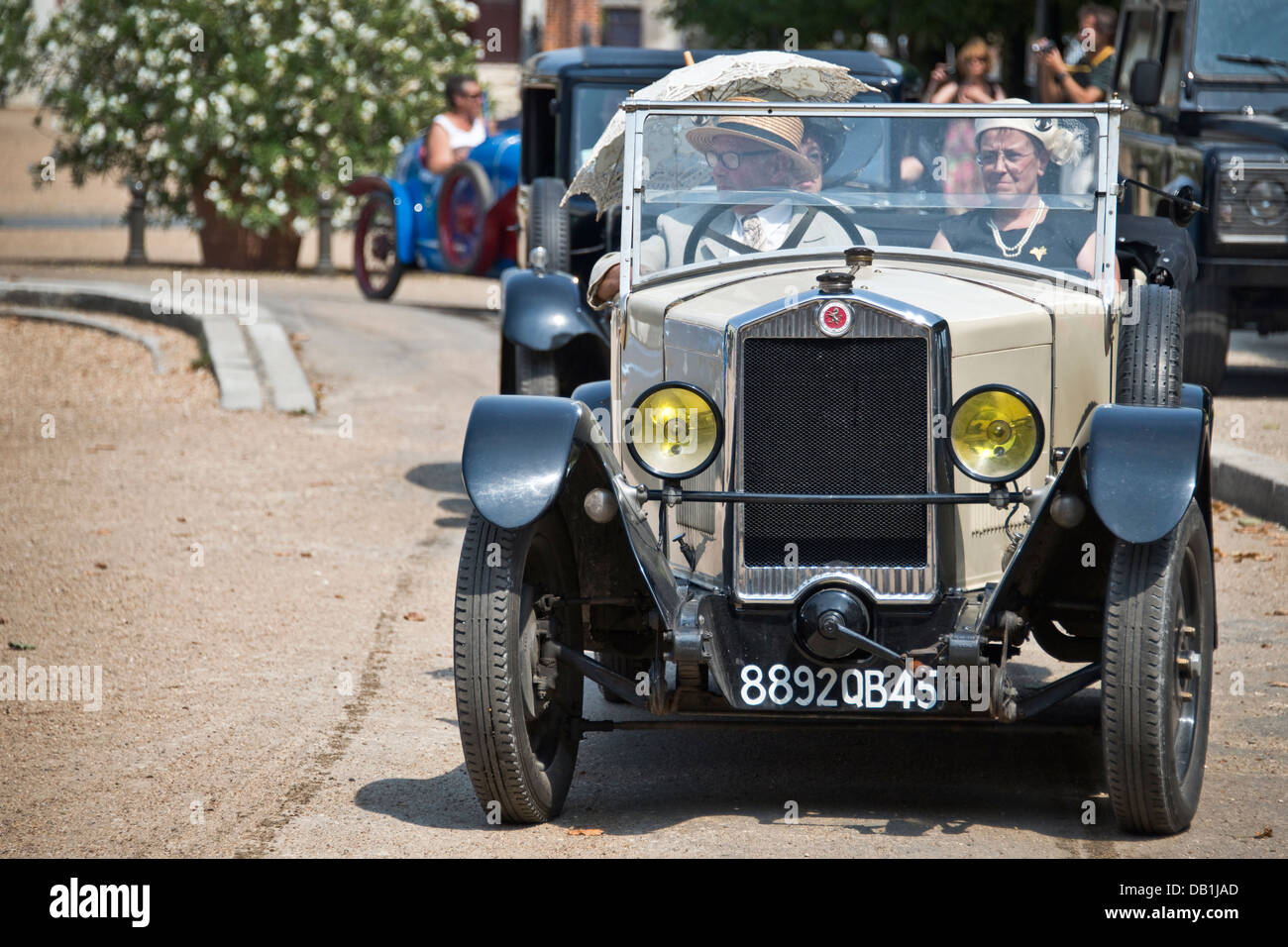 Vintage automobile show in front of the castle of Blois - Loire Valley, France - Stock Image