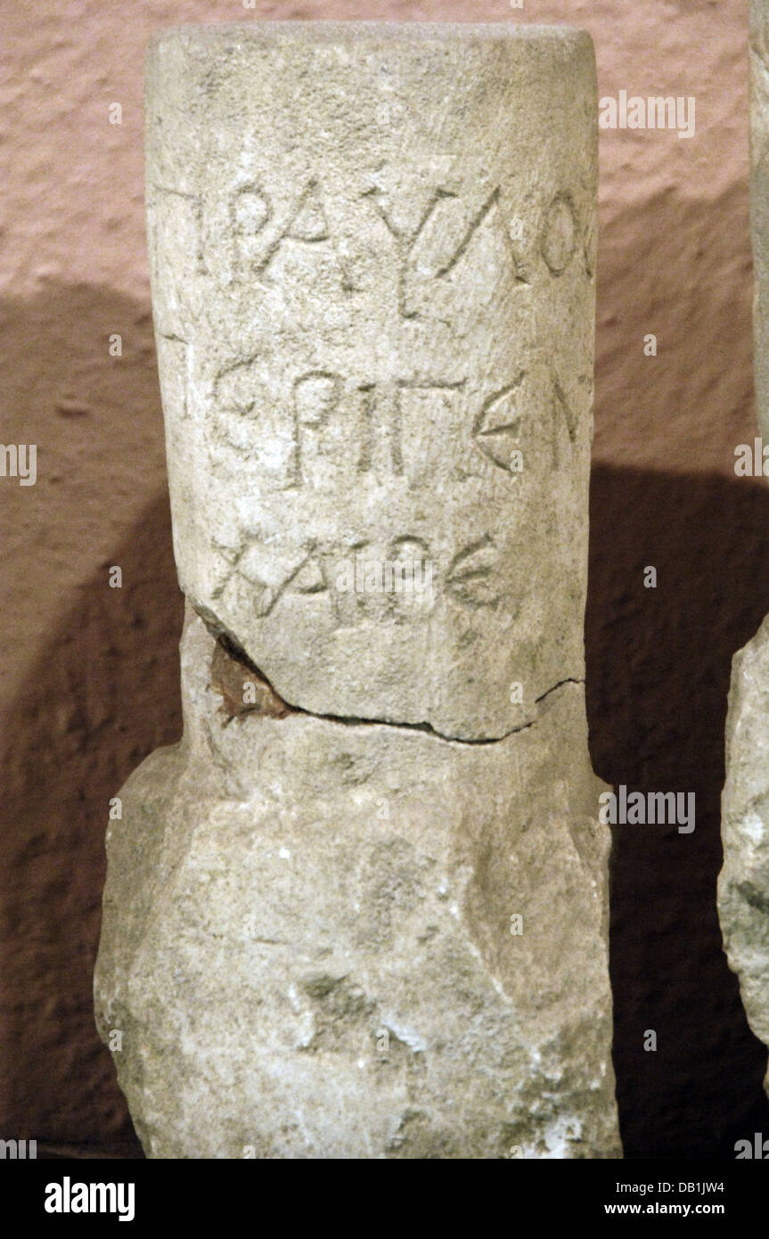 Illyrian writing engraved on stone. 2nd century BC. From Durres. Archaeological Museum. Tirana. Albania. - Stock Image
