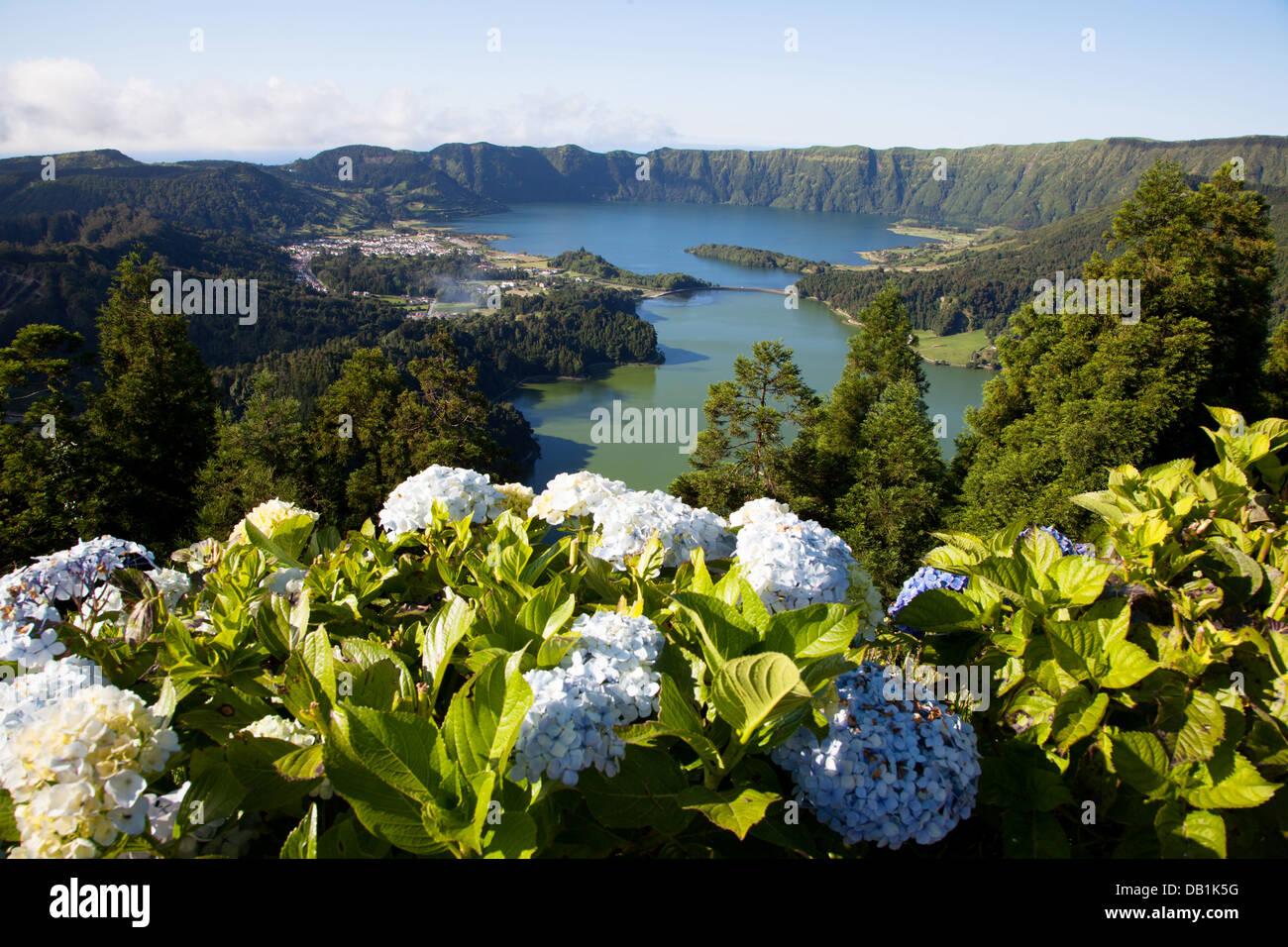 Sete Cidades , Miradouro da Vista do Rei , Ilha de S.Miguel - Açores - Stock Image