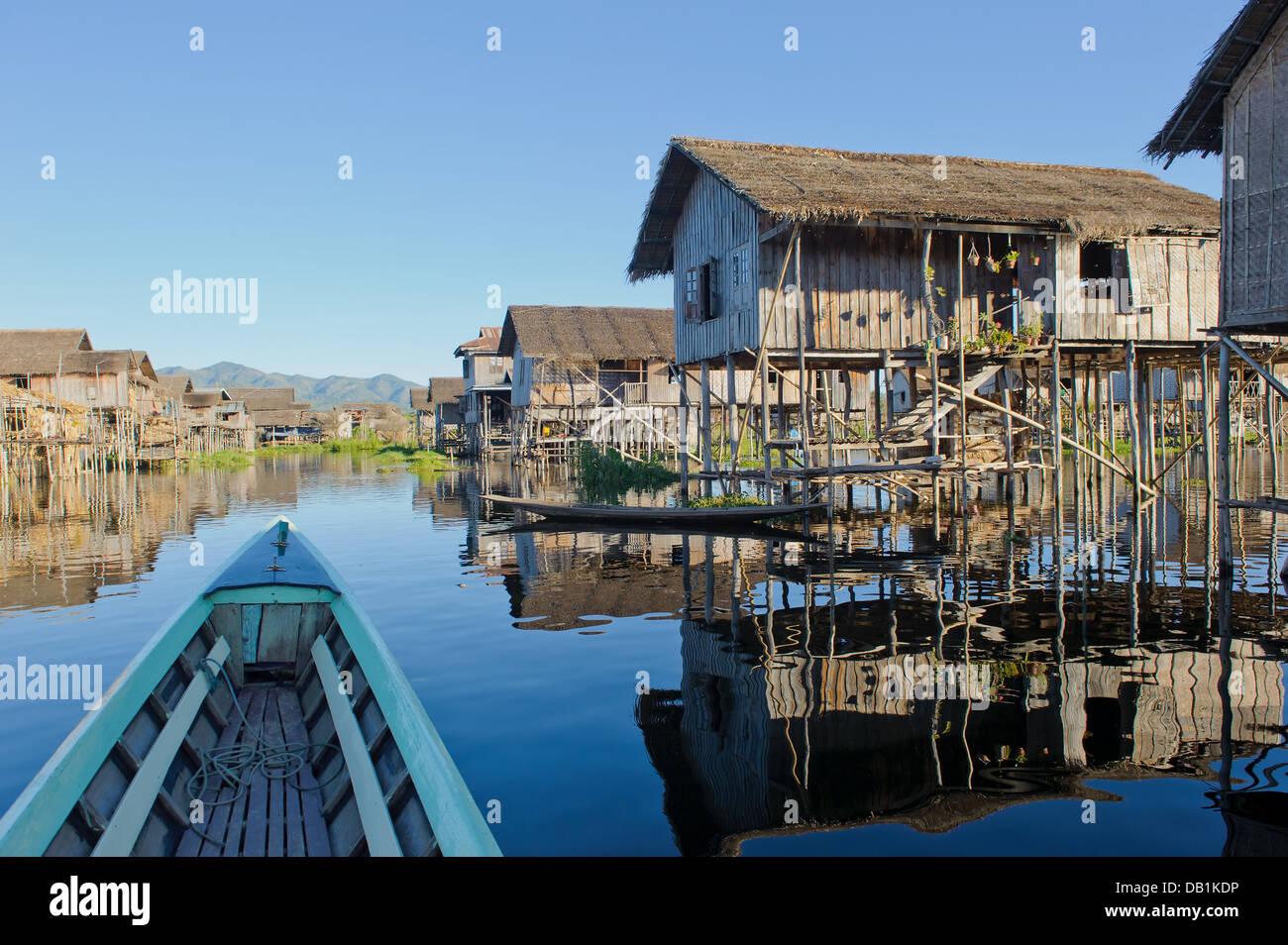 Floating village at Inle Lake, Myanmar - Stock Image