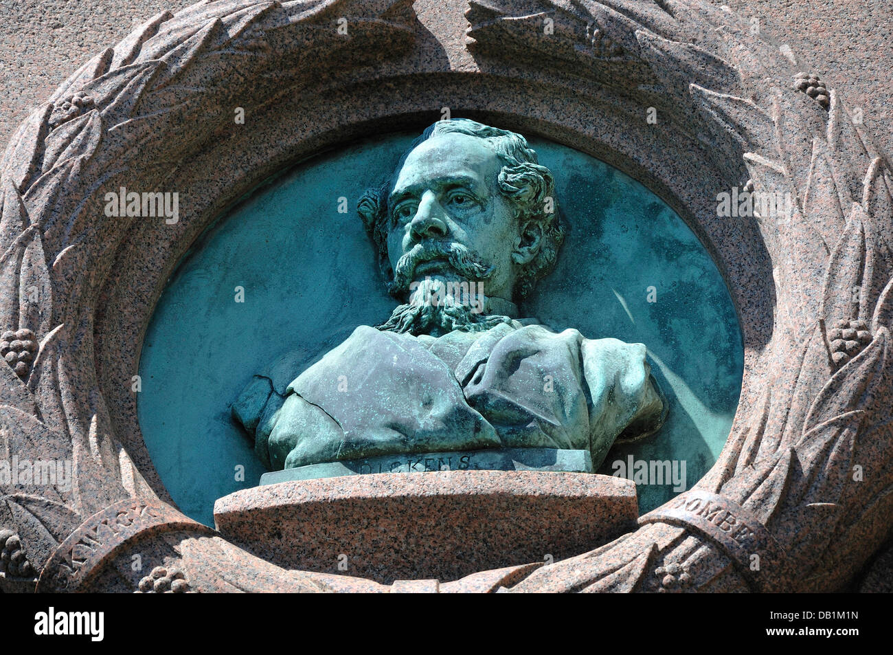 Broadstairs, Kent, England, UK. Bust of Charles Dickens in the wall of Bleak House - Stock Image