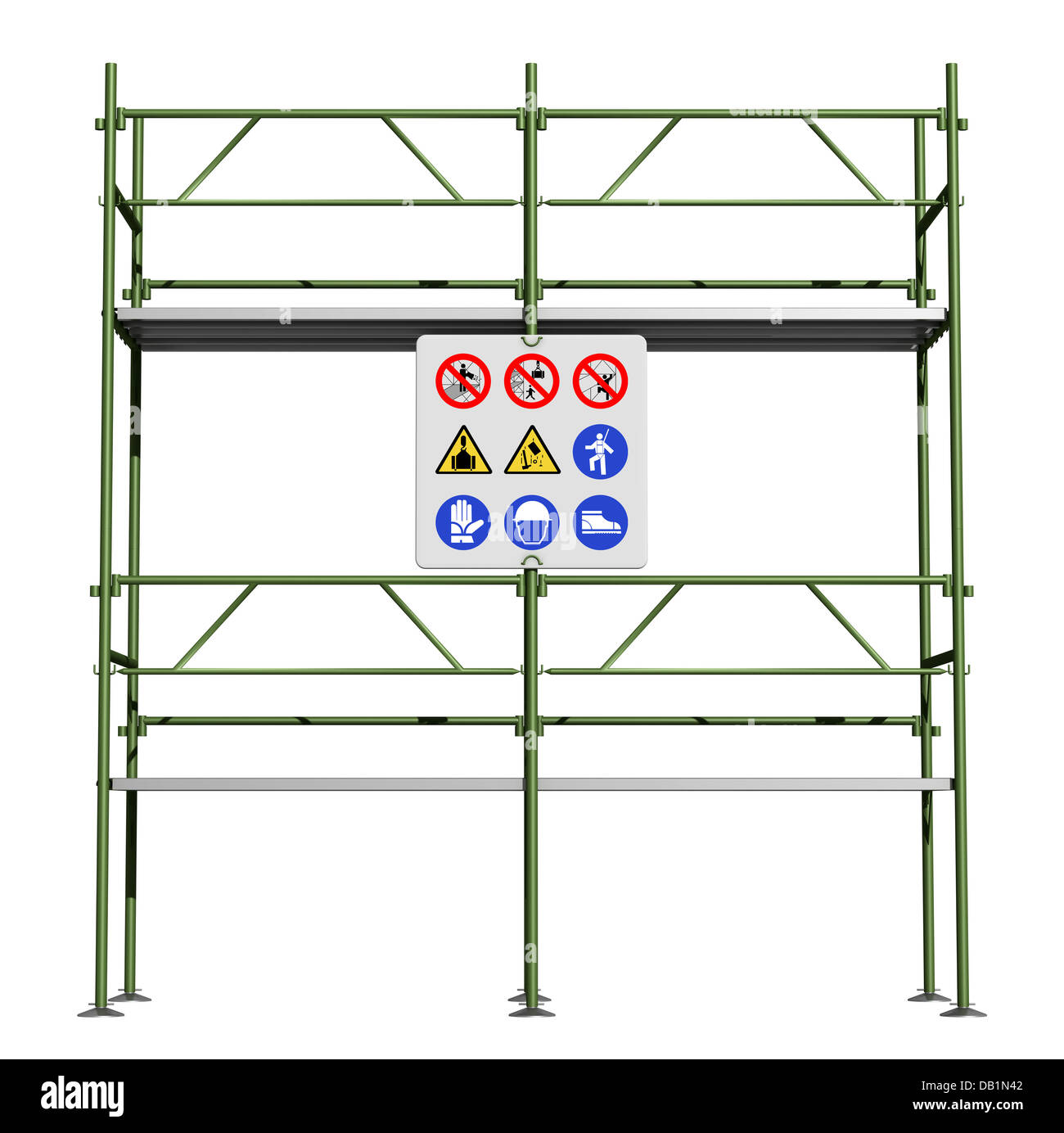 Green scaffold with safety sign board isolated on white - Stock Image