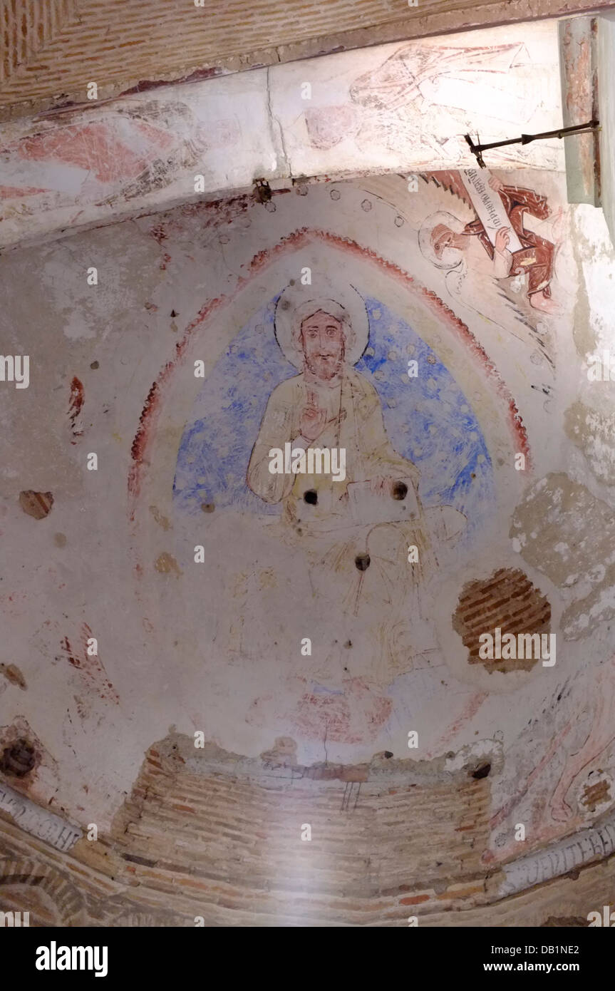 Christ painted on the ceiling of a 1000 year old mosque a unique example of Al-Andalus art. Mesquita de la Luz. Stock Photo