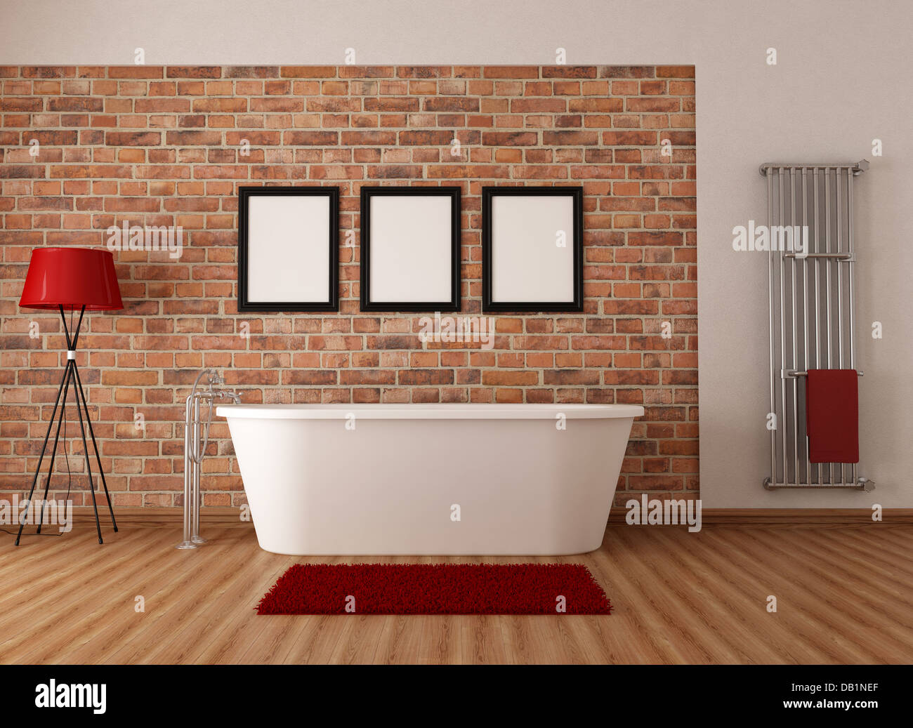 Vintage bathroom with white simple bathtub and brick wall ...