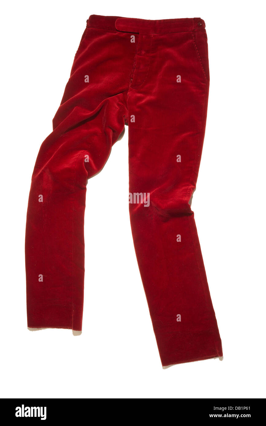Red corduroy trousers - Stock Image