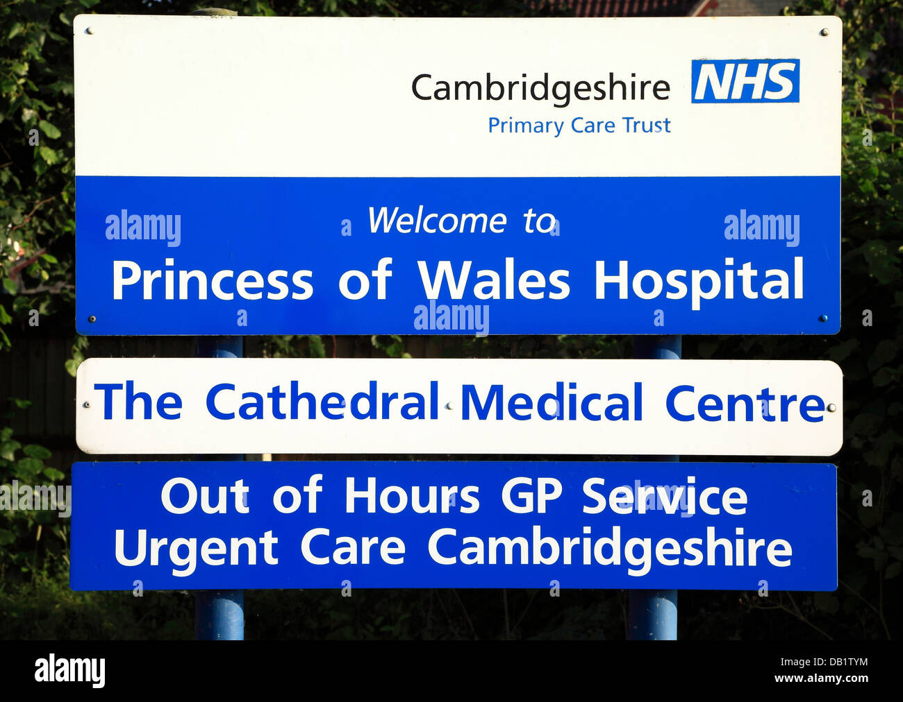 Ely, Princess of Wales Hospital, sign, Cambridgeshire NHS, Primary Care Trust, Cathedral Medical Centre England - Stock Image