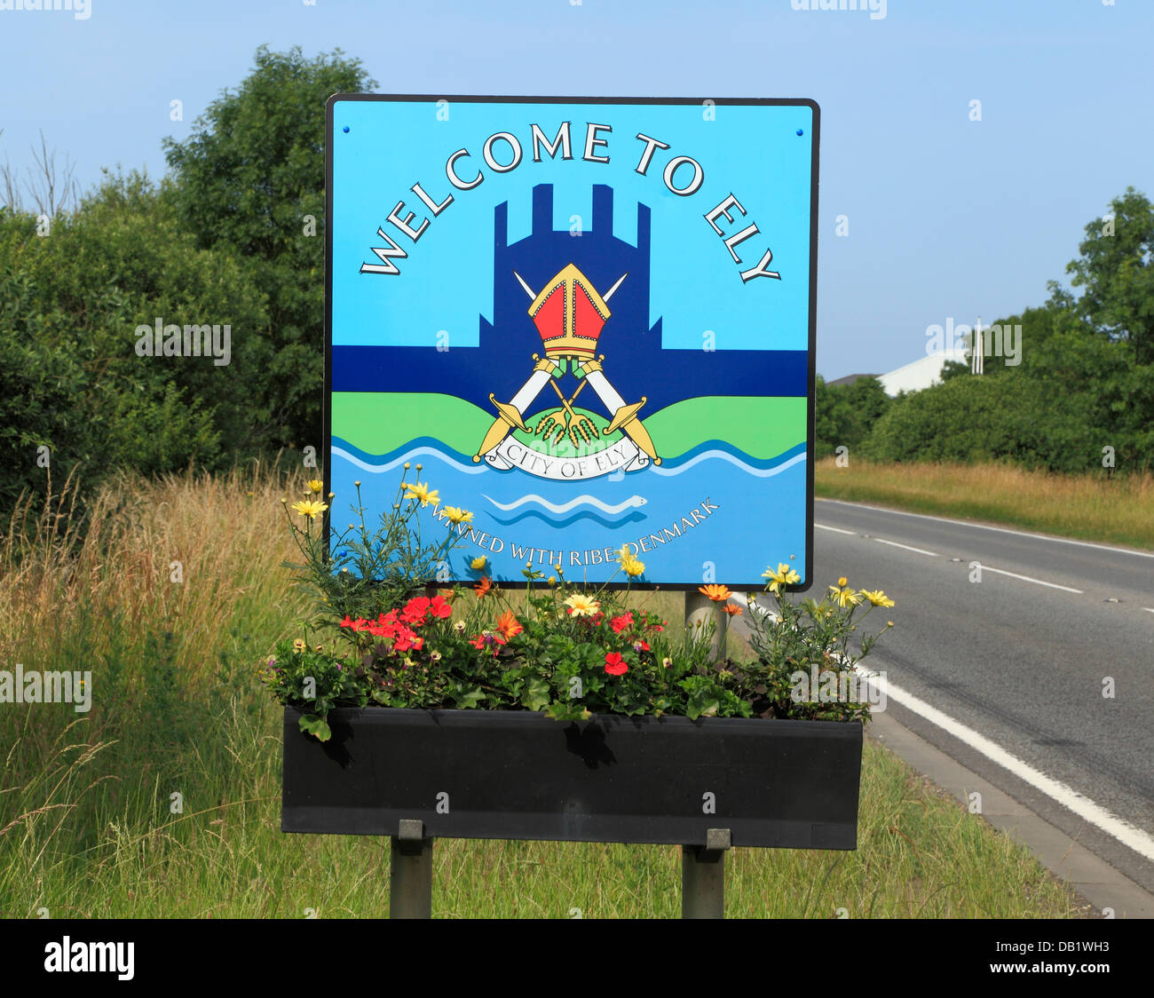 Ely, Welcome To Ely road sign, Cambridgeshire, England UK English city cities - Stock Image