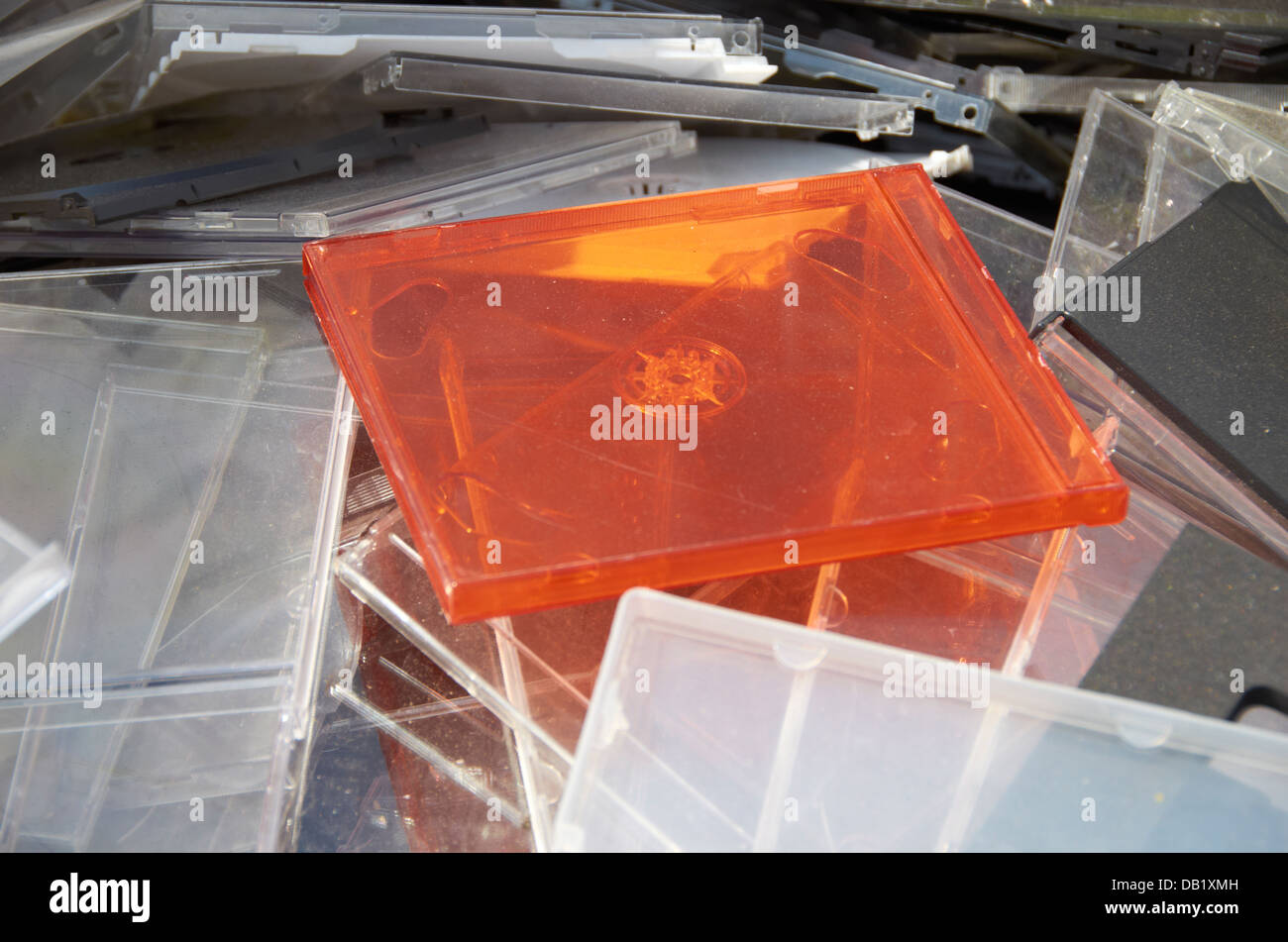 Old CD jewel cases. Stock Photo
