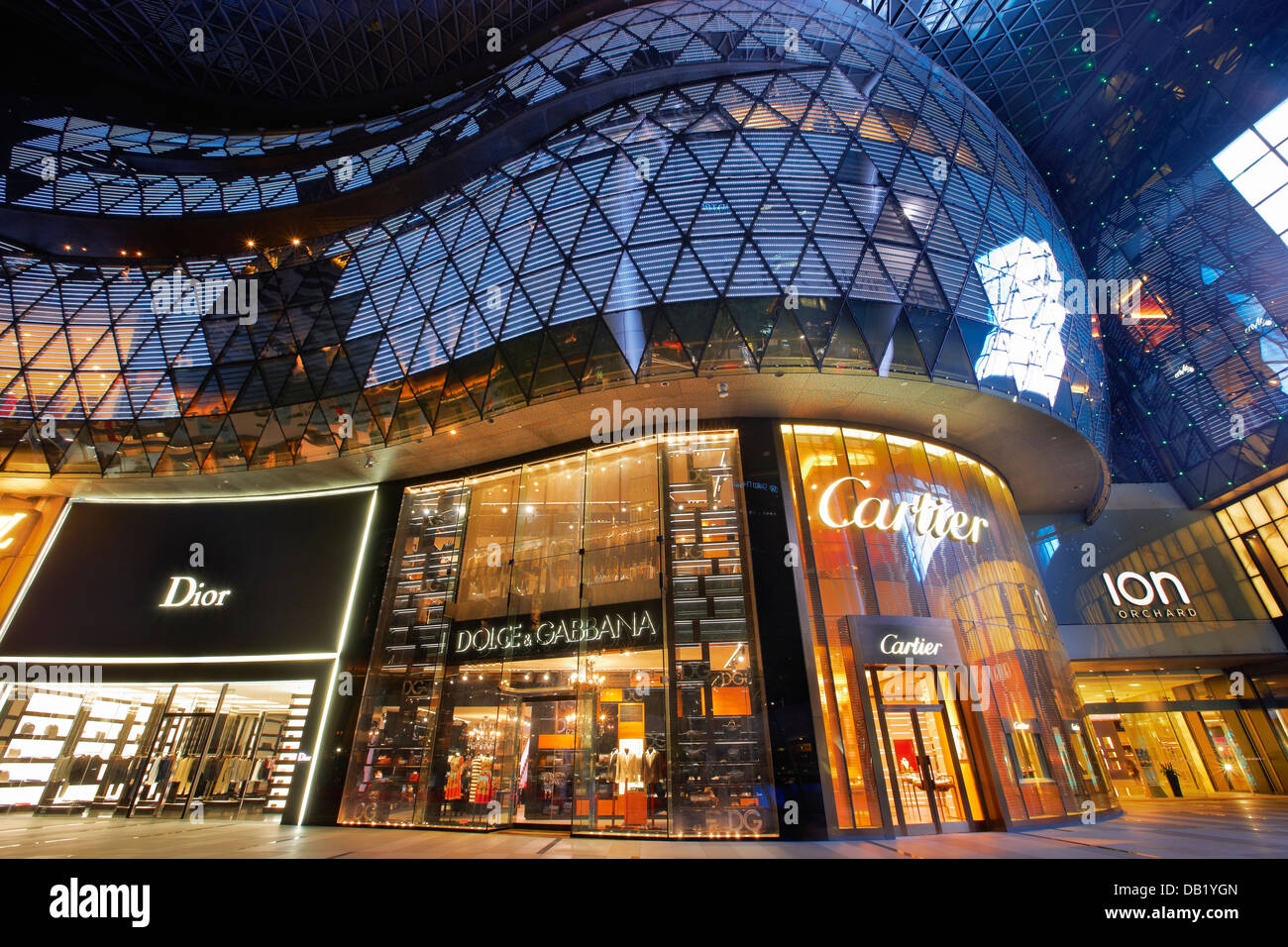 Windows Of Ion Orchard Shopping Mall Illuminated At Night Orchard Stock Photo Alamy
