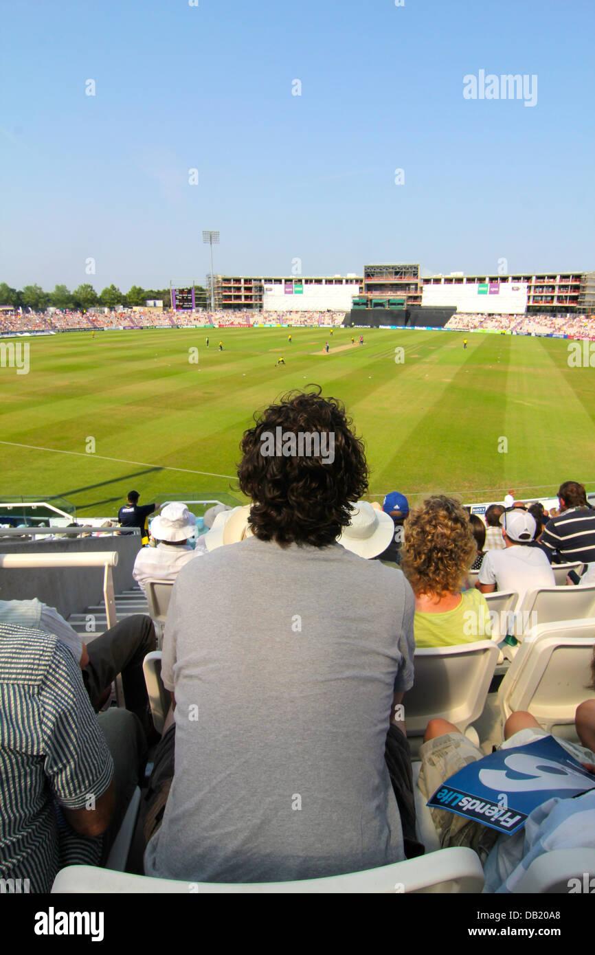 Crowd at Hampshire Royals and Kent Spitfires Twenty20 match, Ageas Bowl, Southampton, UK Stock Photo