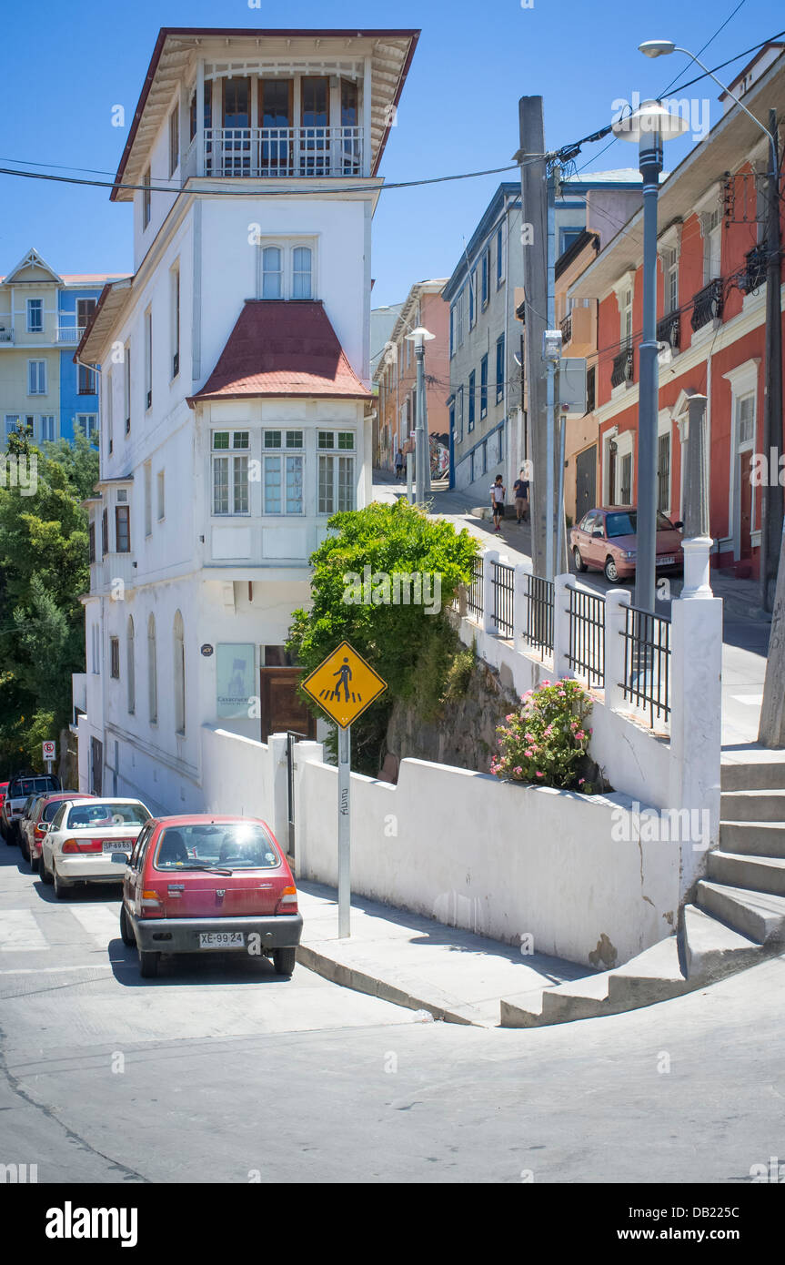Streets and sights of the port of Valparaiso - Stock Image