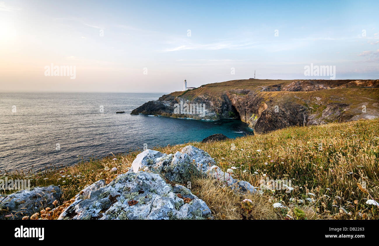 The lighthouse at Trevose Head on Cornwall's rugged north coast. Stock Photo
