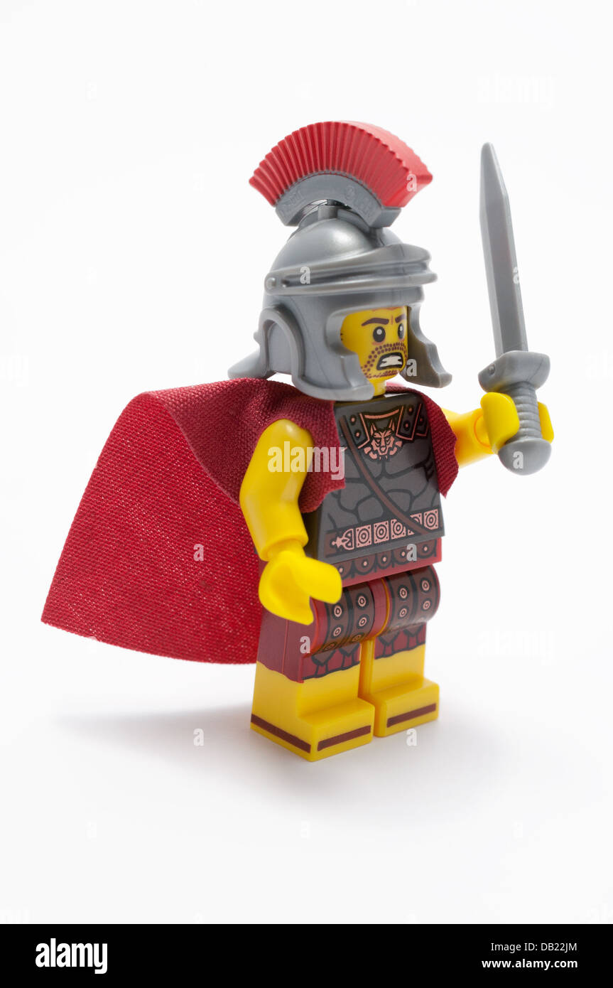 Lego minifigure of a Roman soldier - Stock Image