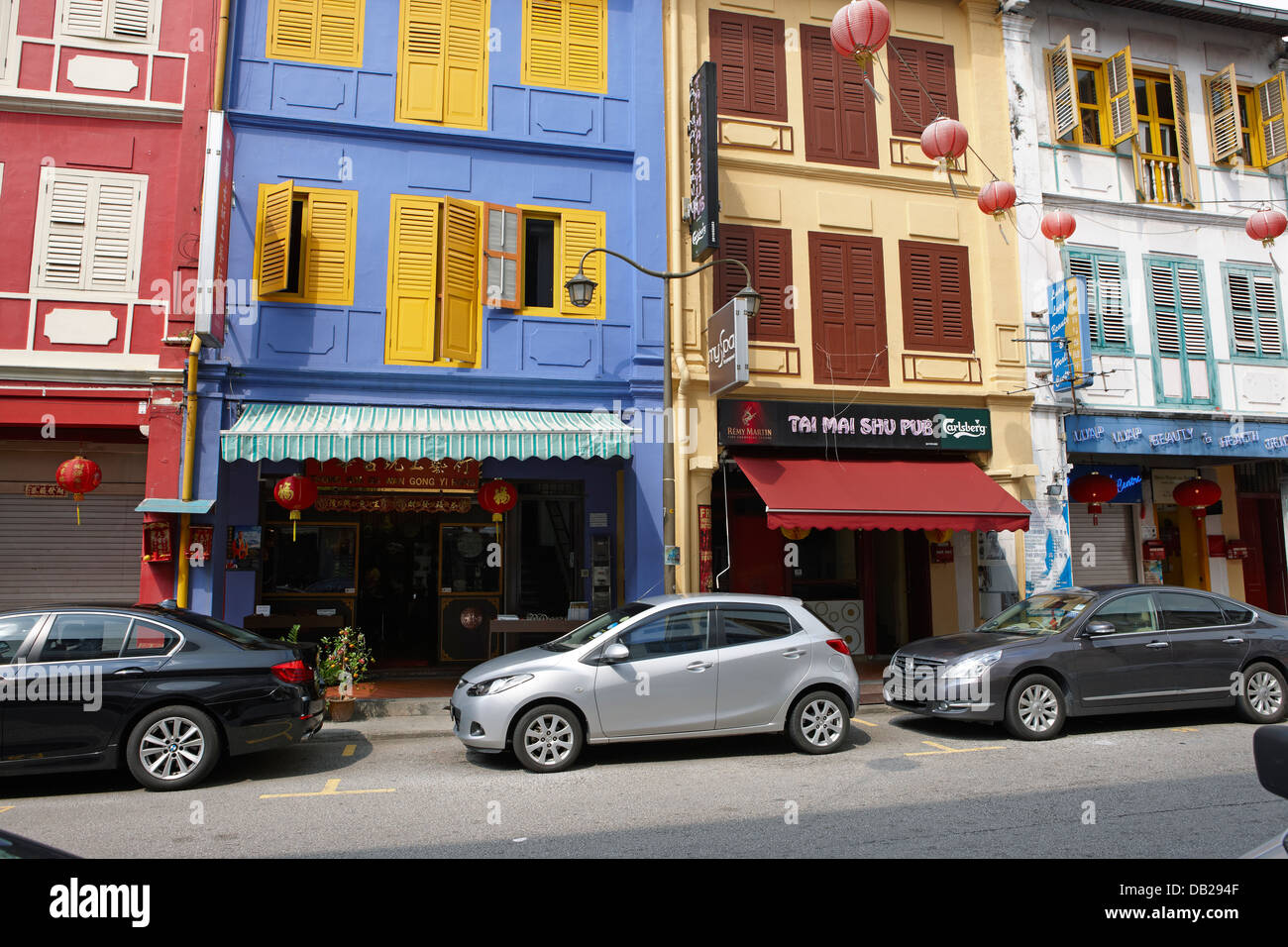Traditional shophouses in Chinatown, Singapore. Stock Photo